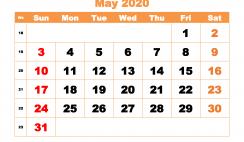 May 2020 Blank Calendar Printable - No.m20b425
