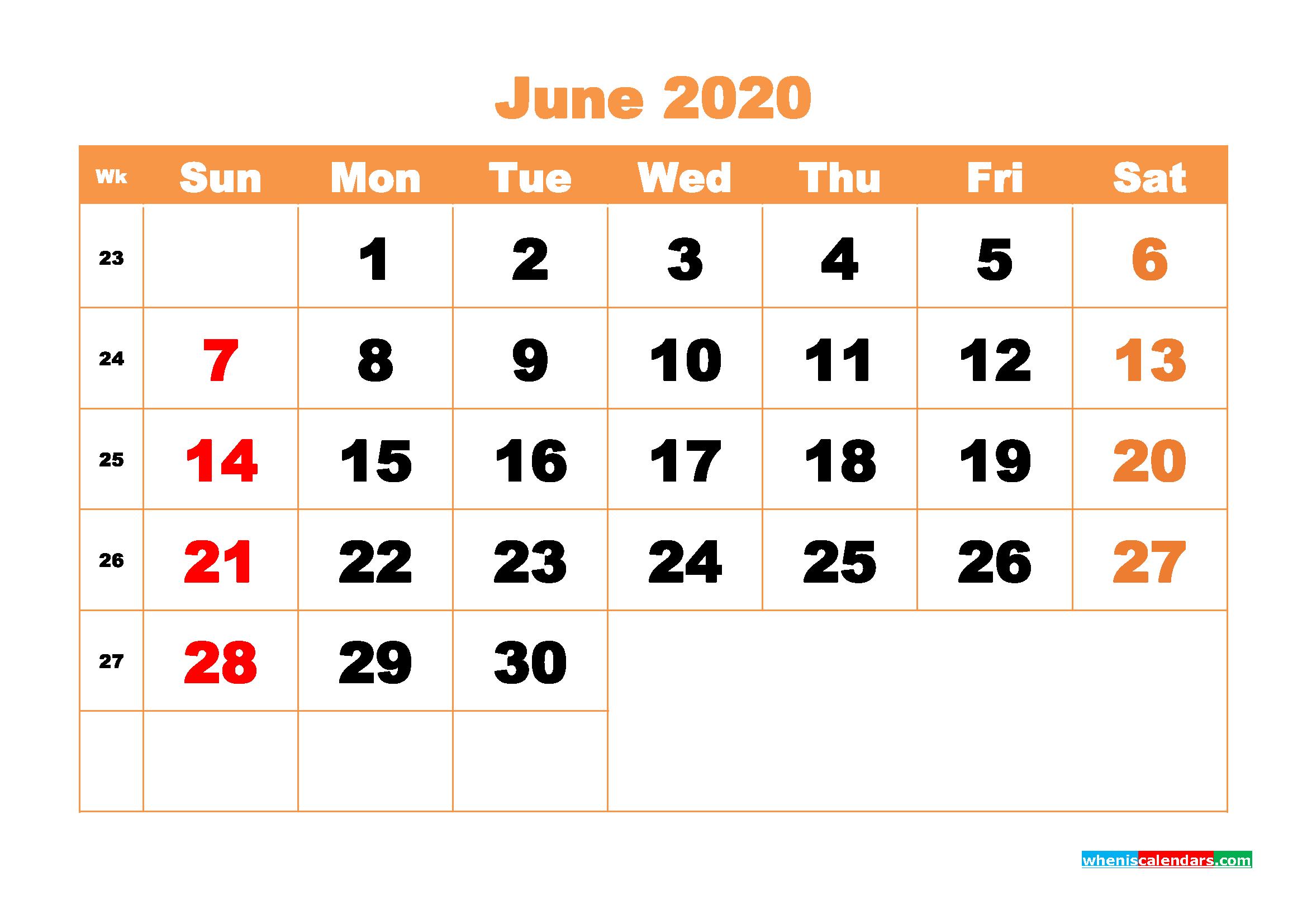 June 2020 Blank Calendar Printable - No.m20b426
