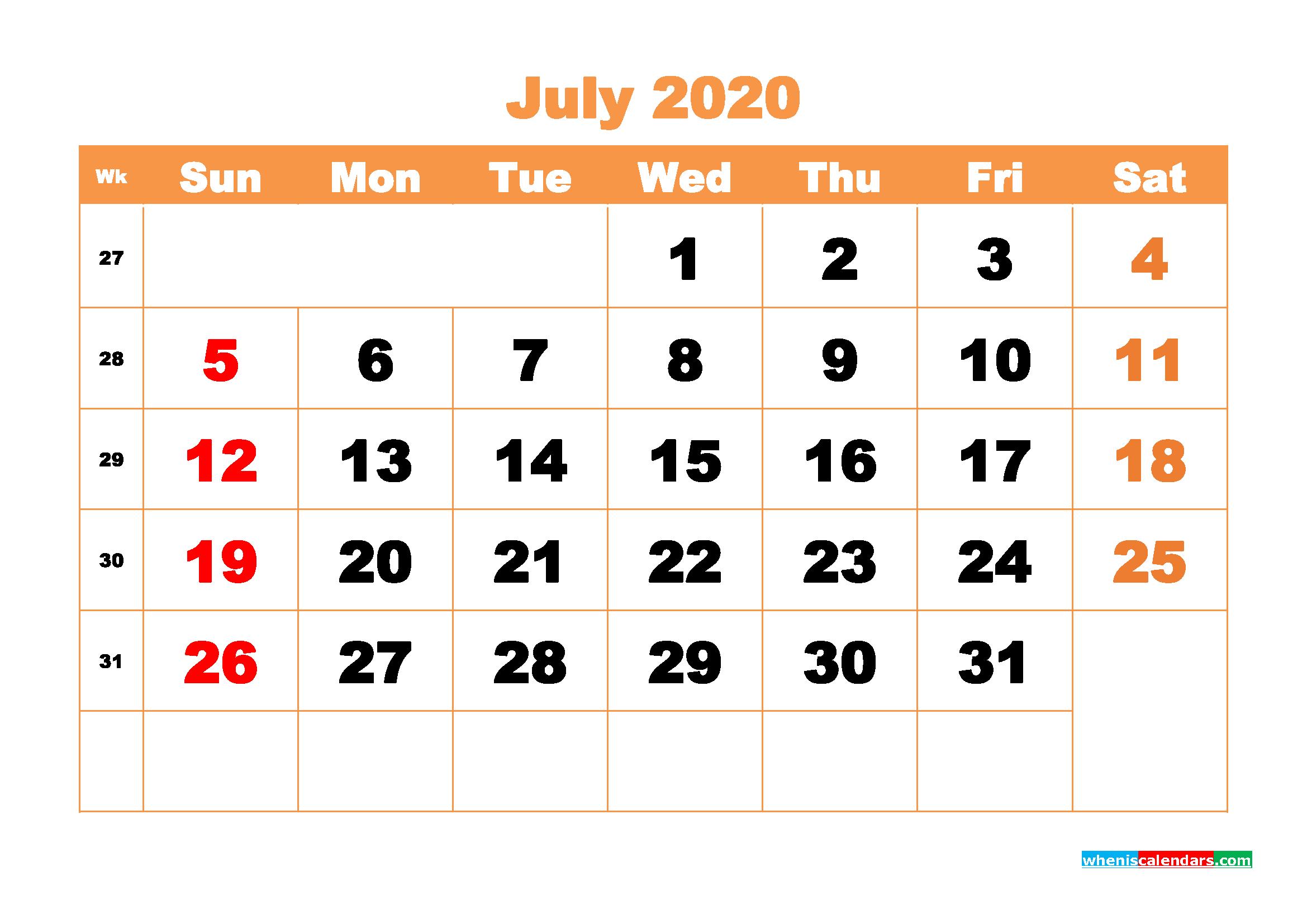 July 2020 Blank Calendar Printable - No.m20b427