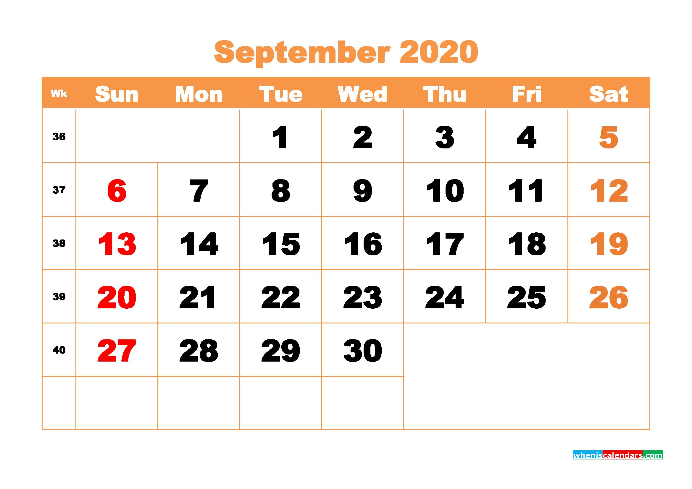 September 2020 Blank Calendar Printable - No.m20b429