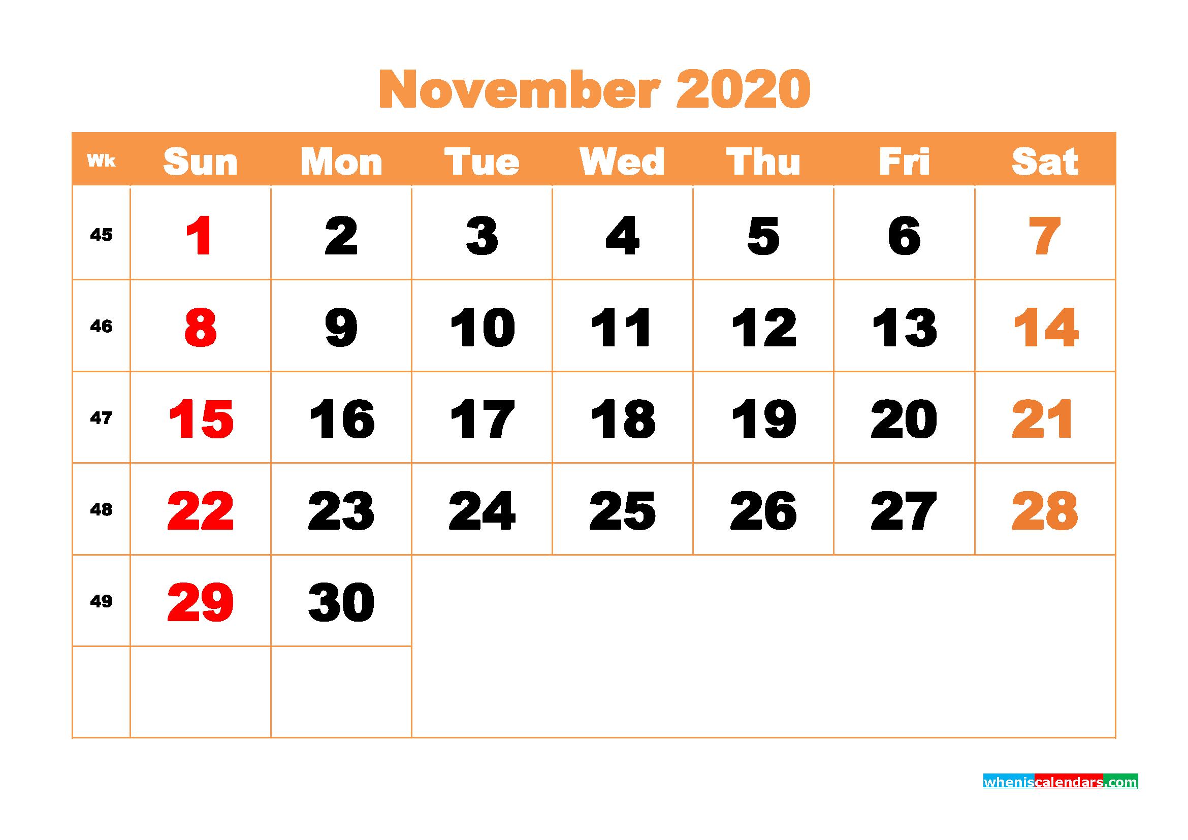 November 2020 Blank Calendar Printable - No.m20b431
