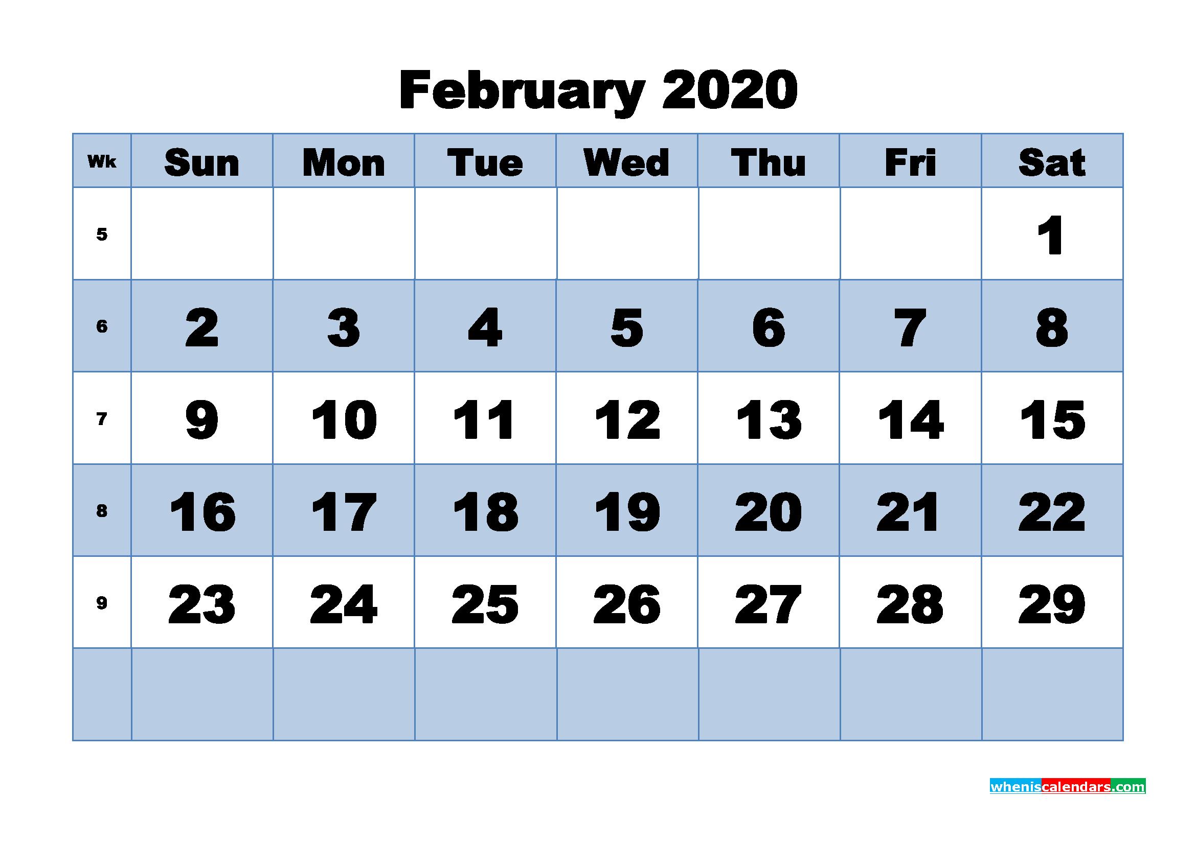February Printable Calendar 2020 PDF, Word - No.m20b446