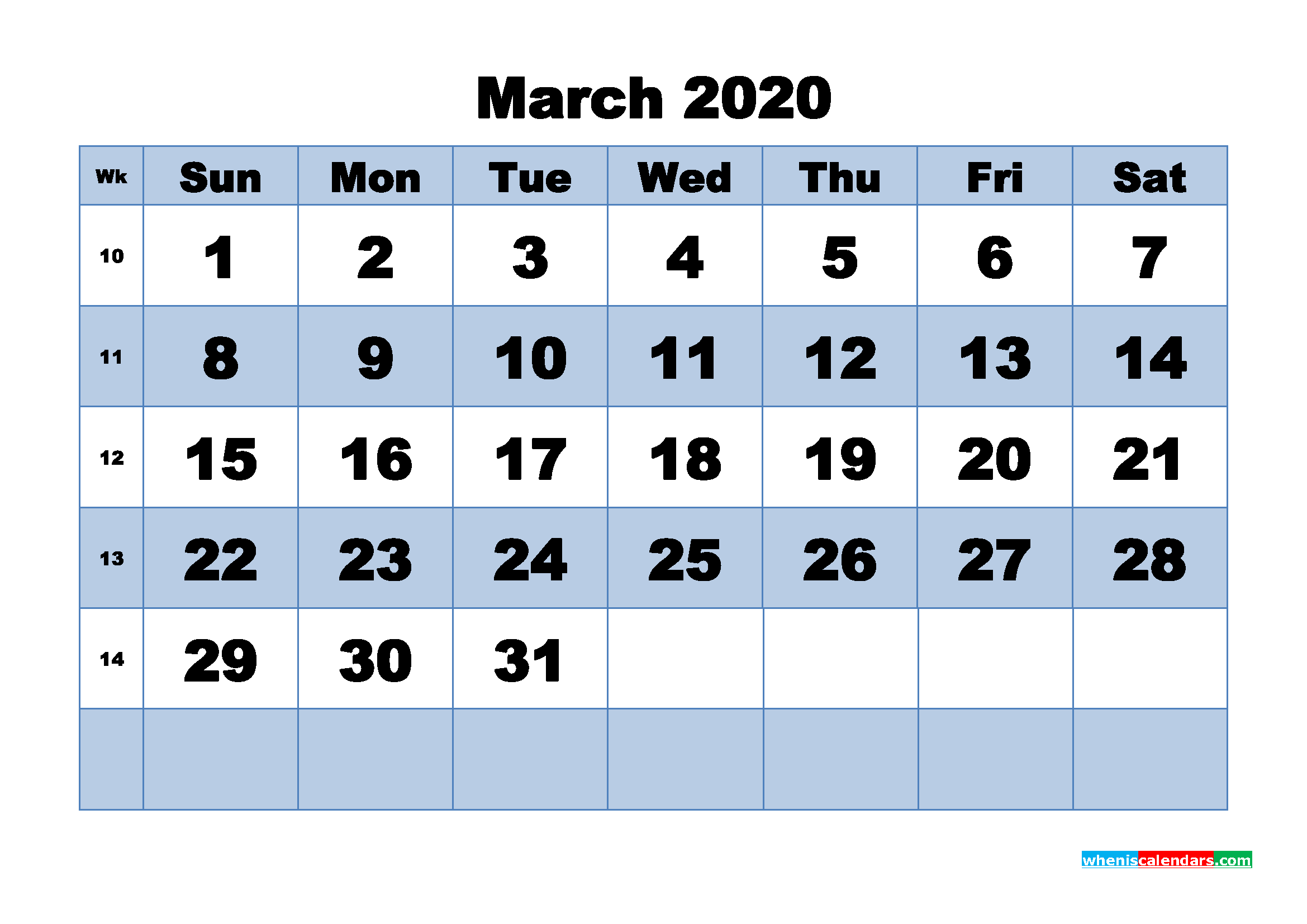 March Printable Calendar 2020 PDF, Word - No.m20b447