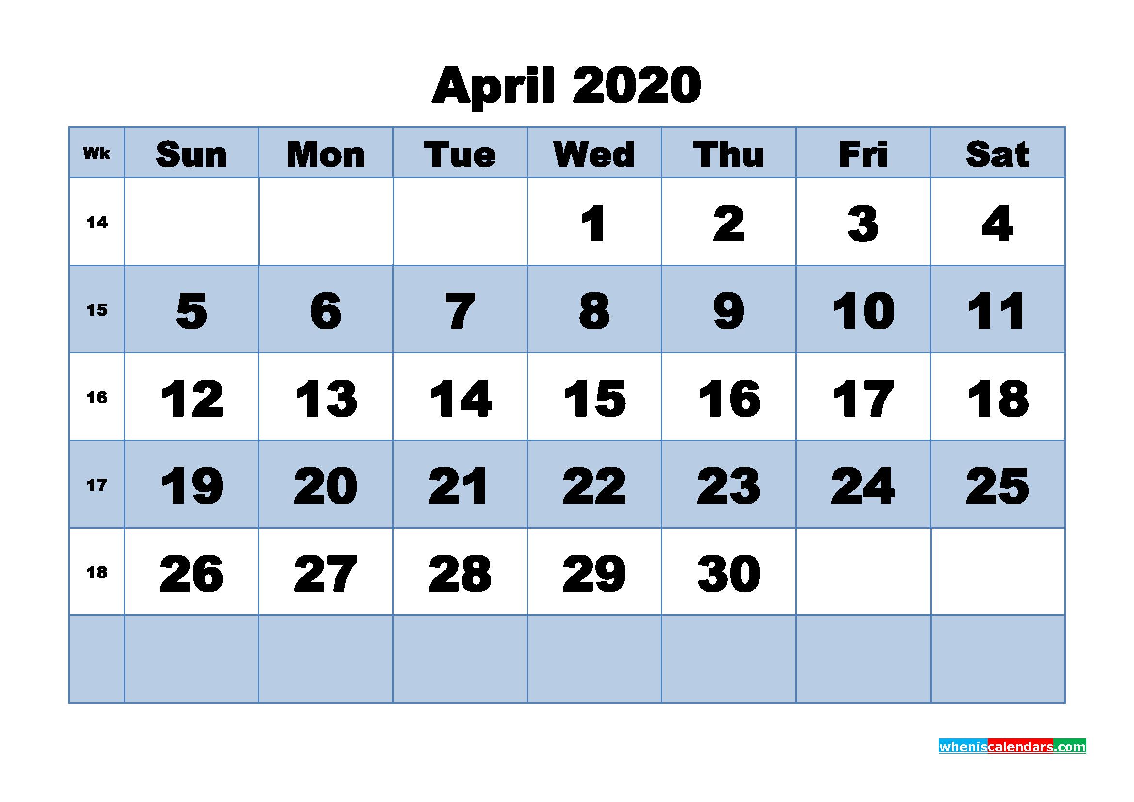 April Printable Calendar 2020 PDF, Word - No.m20b448