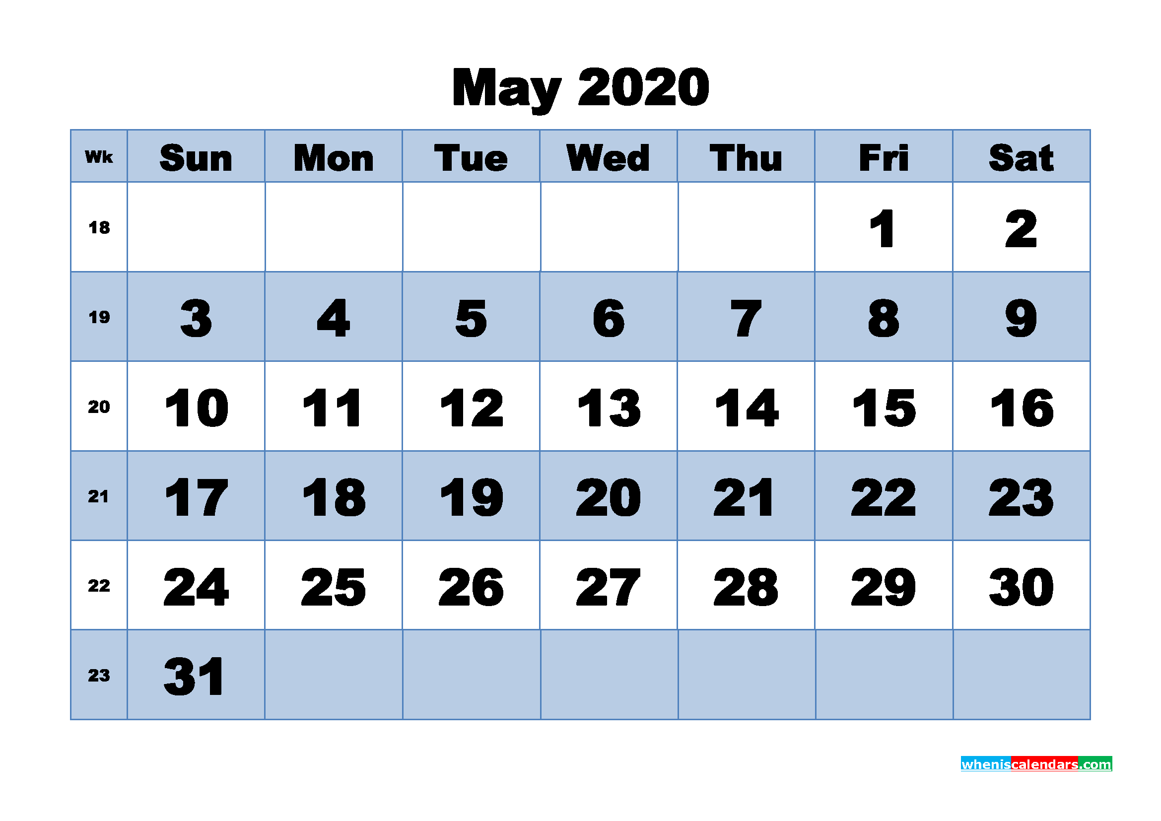 May 2020 Monthly Calendar Template Word