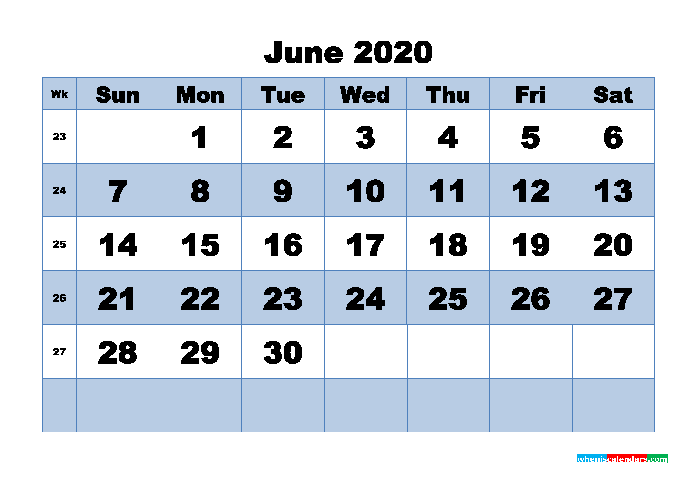 June Printable Calendar 2020 PDF, Word - No.m20b450