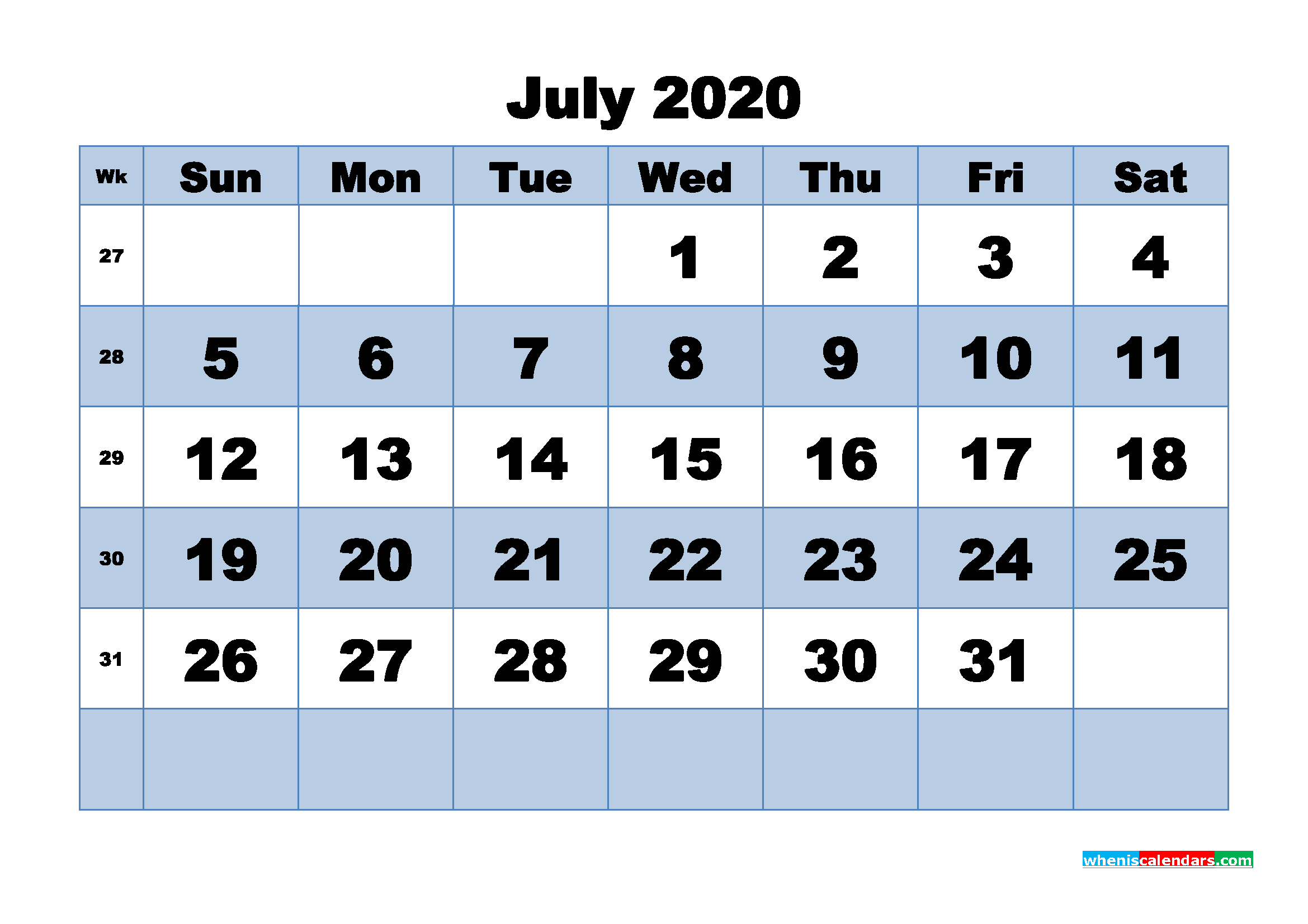 July 2020 Monthly Calendar Template Word