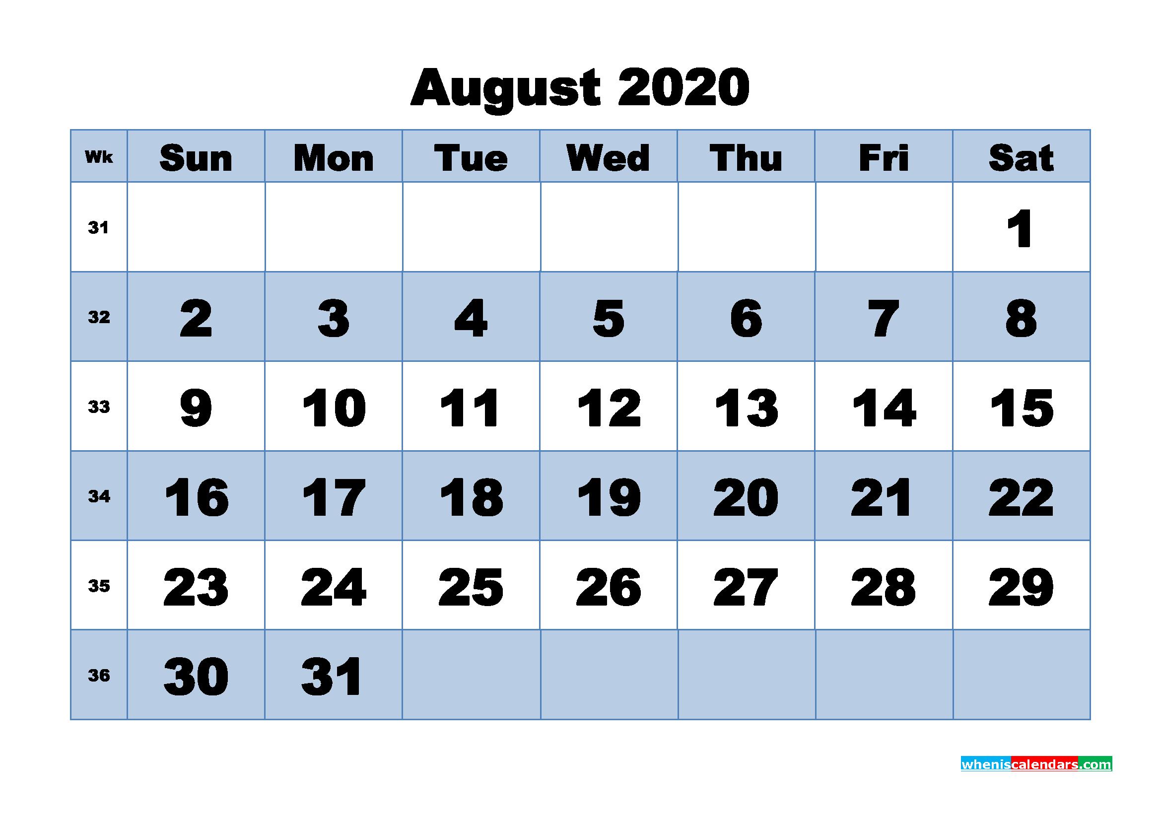 August Printable Calendar 2020 PDF, Word - No.m20b452