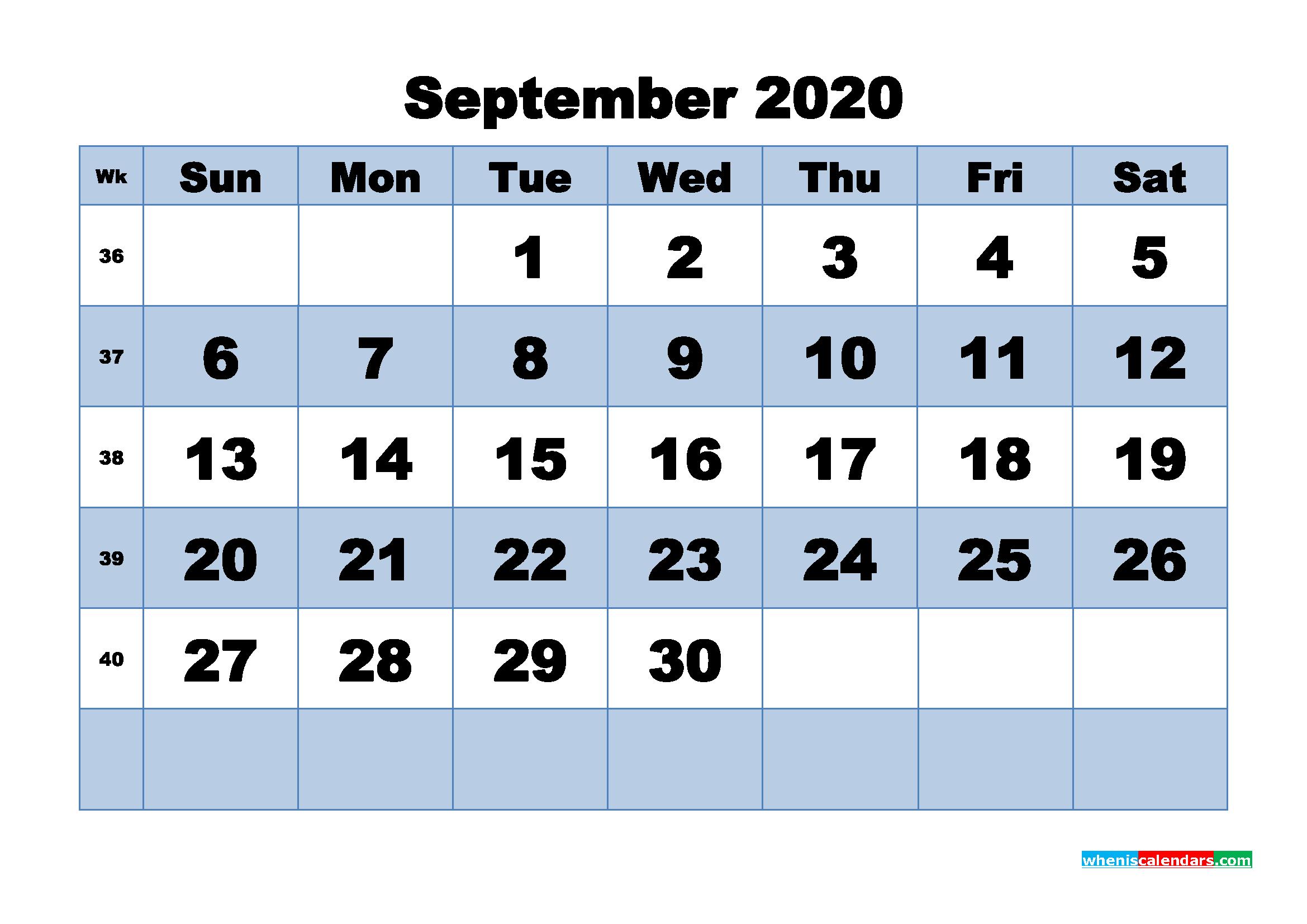 September Printable Calendar 2020 PDF, Word - No.m20b453