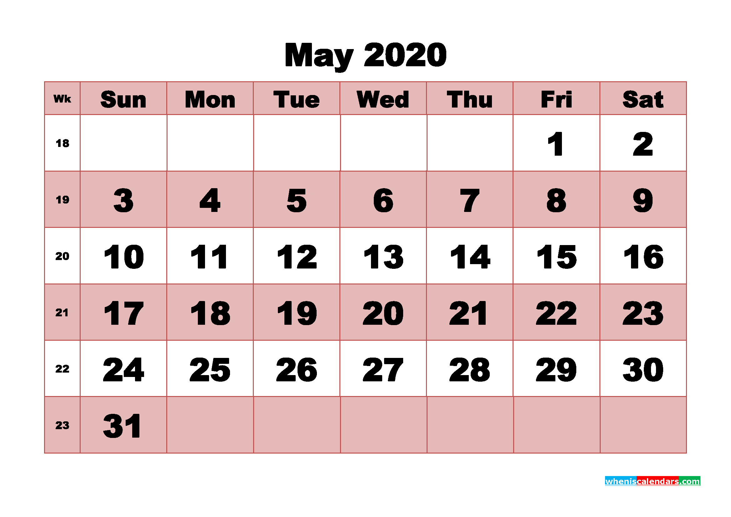 Printable Monthly Calendar 2020 May with Week Numbers