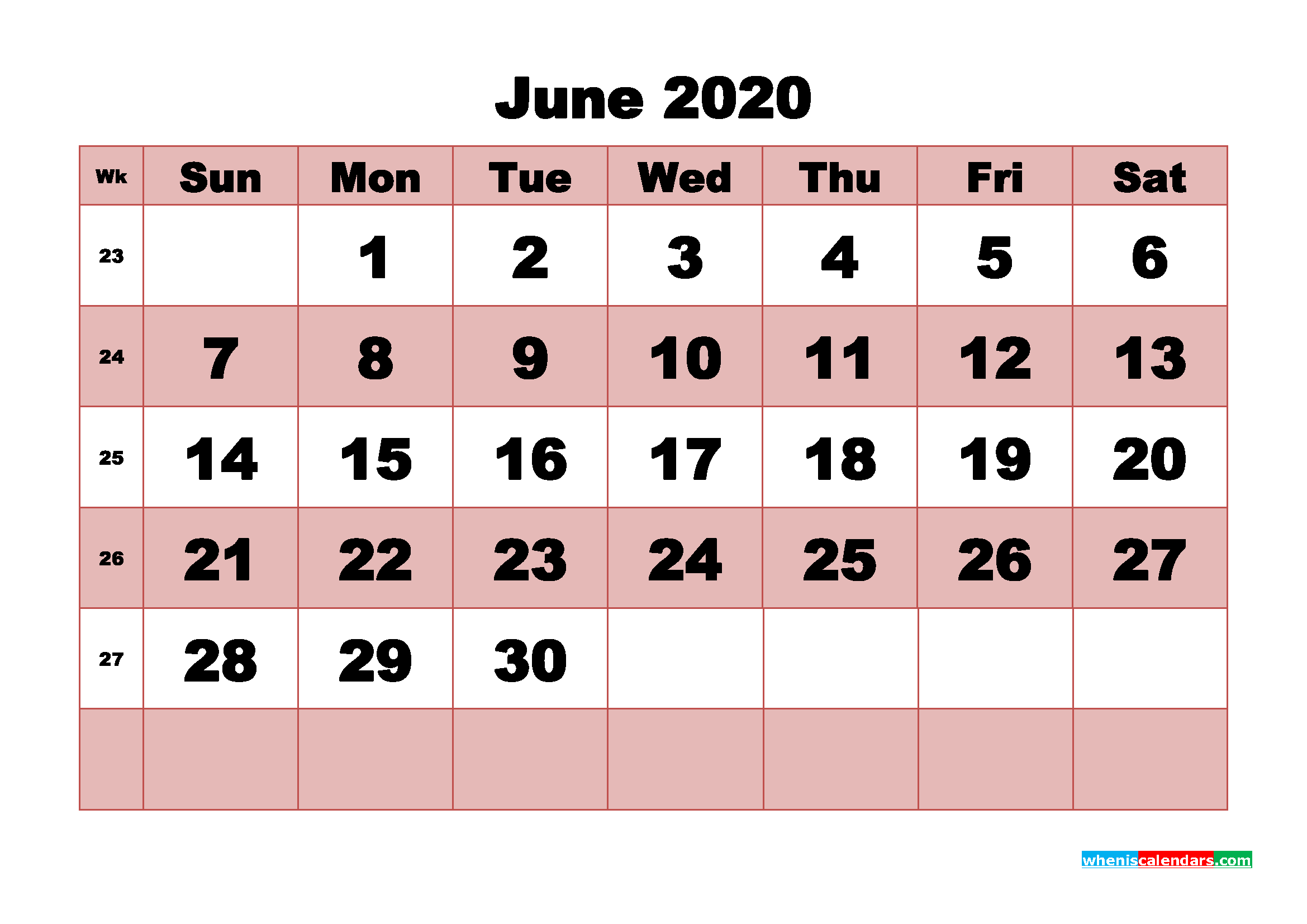 Free Printable June 2020 Calendar - No.m20b462