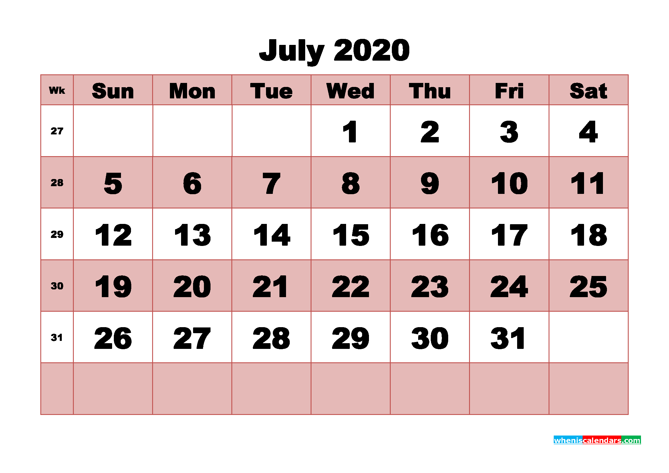 Free Printable July 2020 Calendar - No.m20b463