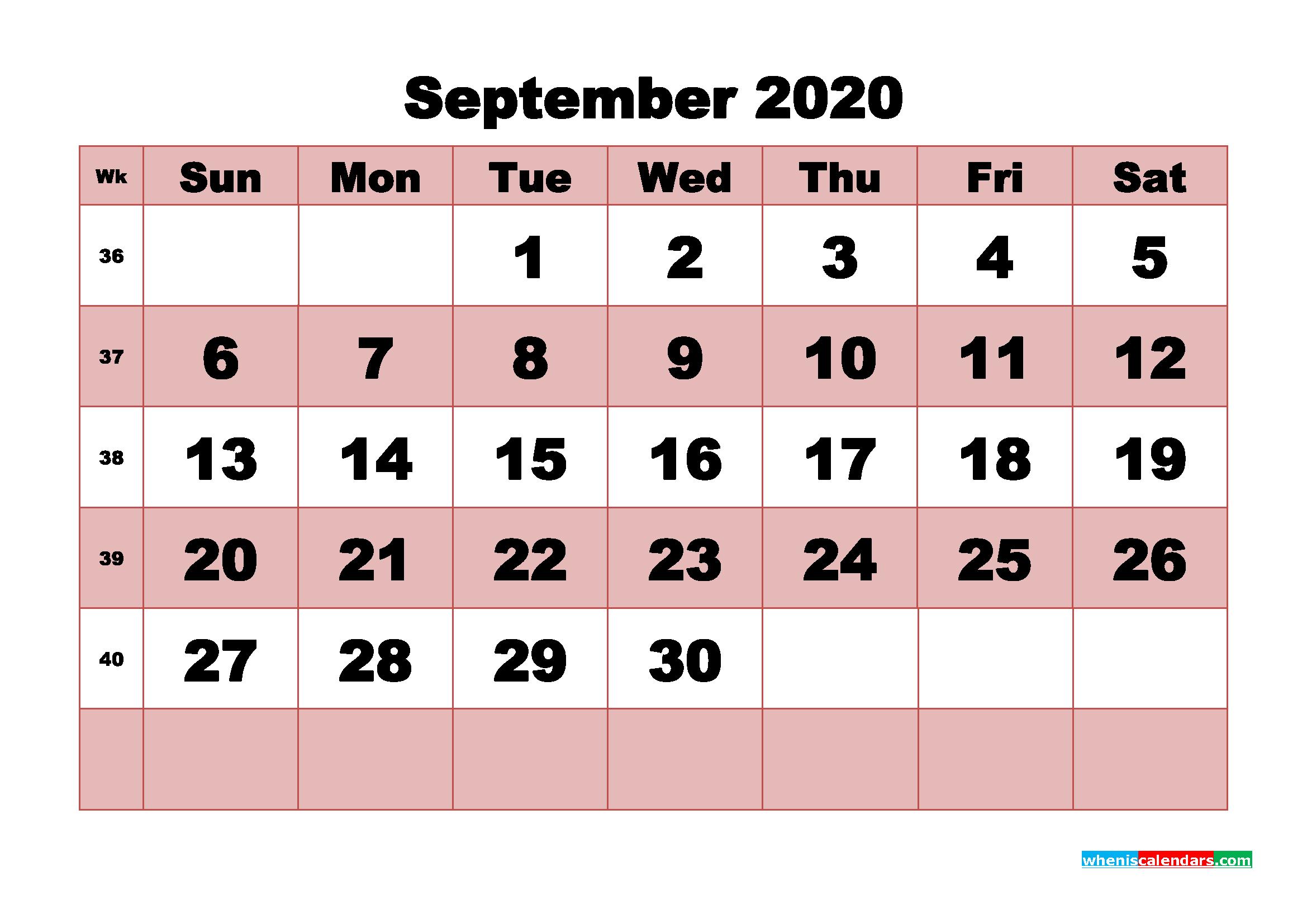 Free Printable September 2020 Calendar - No.m20b465