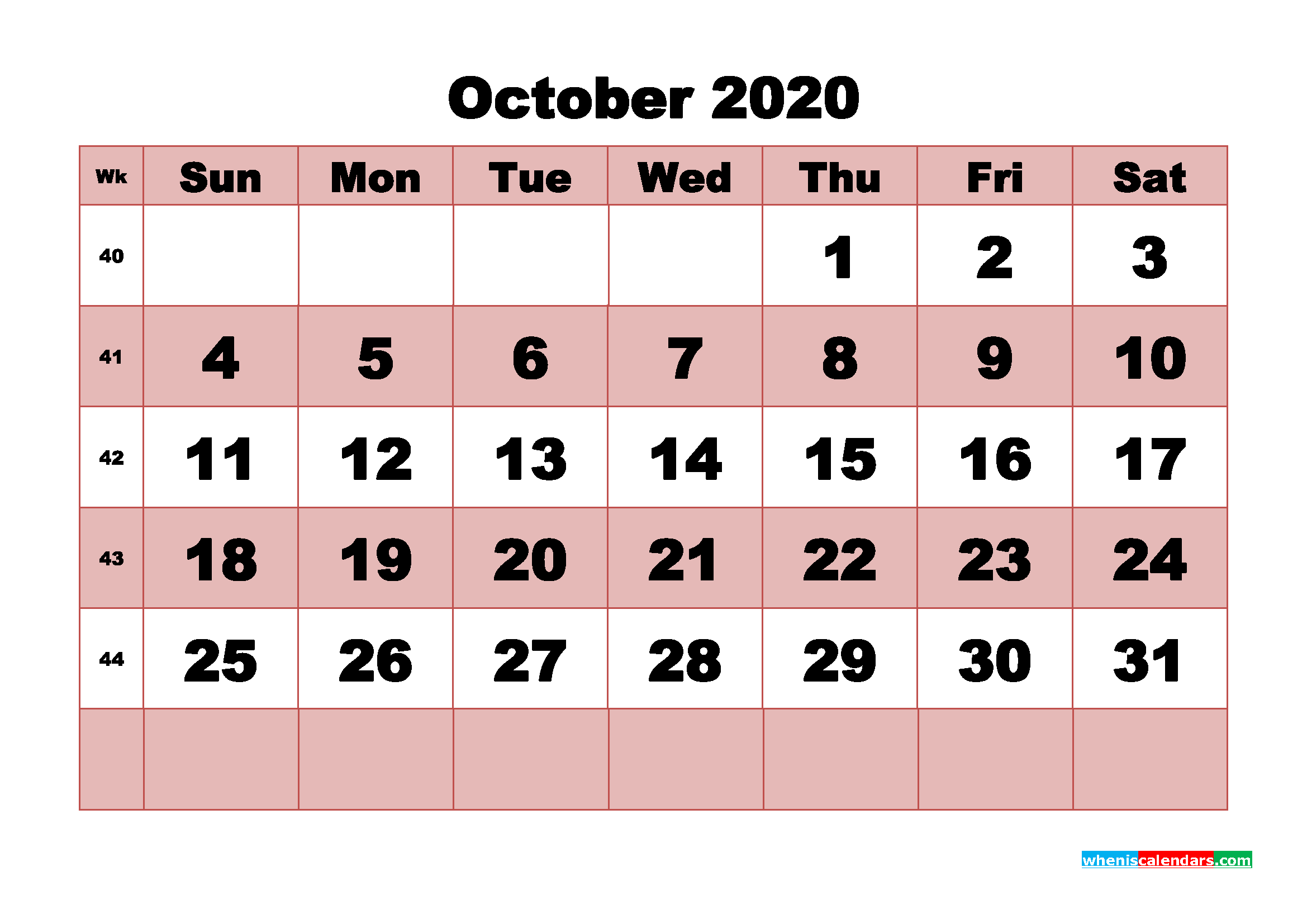 Blank Calendar 2020 October Printable Word, PDF, PNG