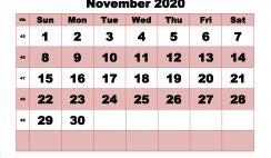 Printable Monthly Calendar 2020 November with Week Numbers