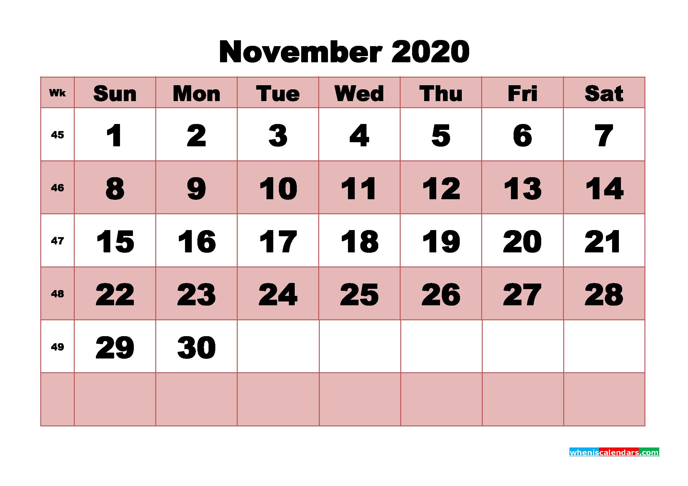 Free Printable November 2020 Calendar - No.m20b467
