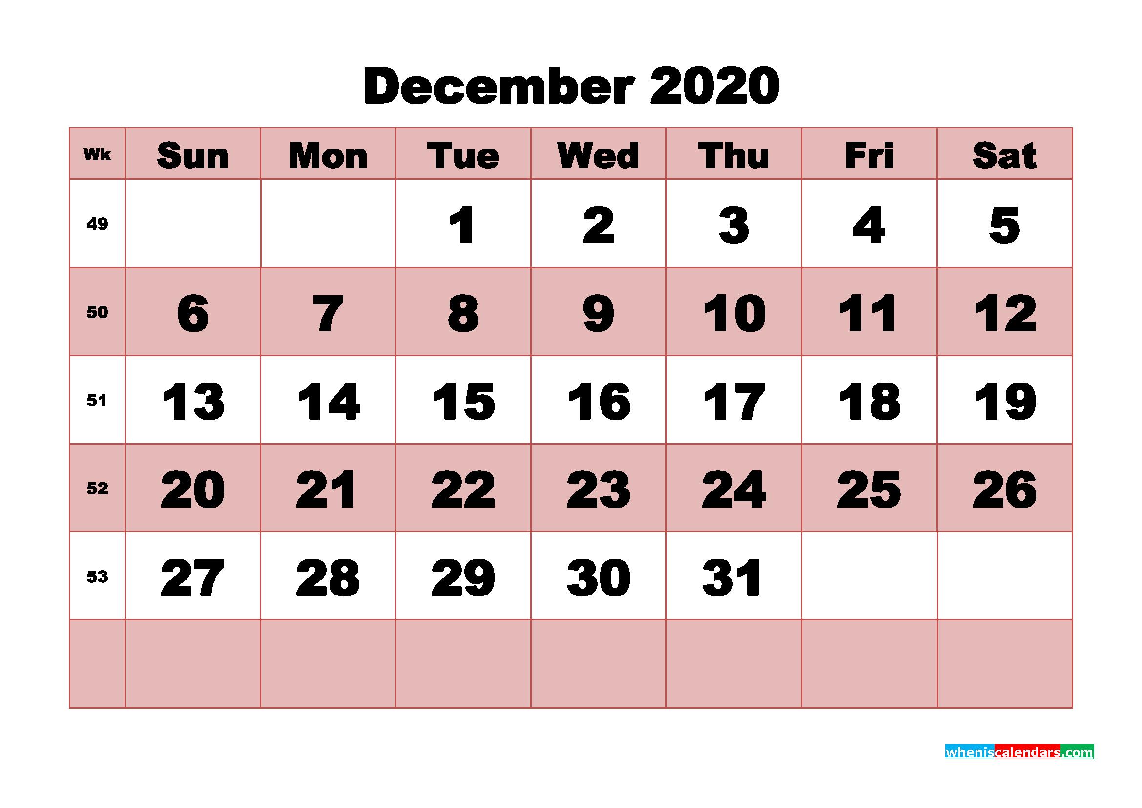 Free Printable December 2020 Calendar - No.m20b468