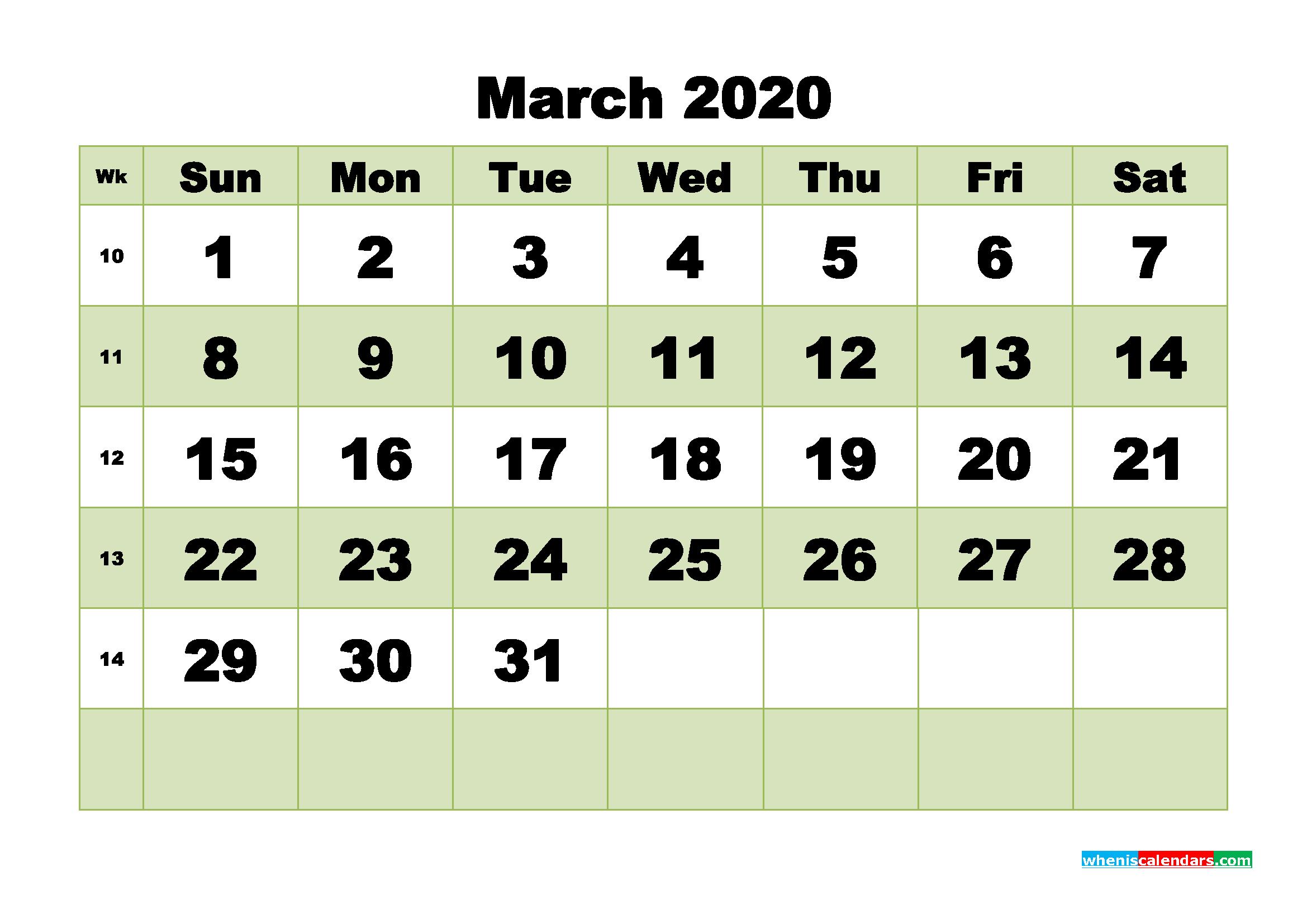Free Blank Calendar March 2020 Printable - No.m20b471