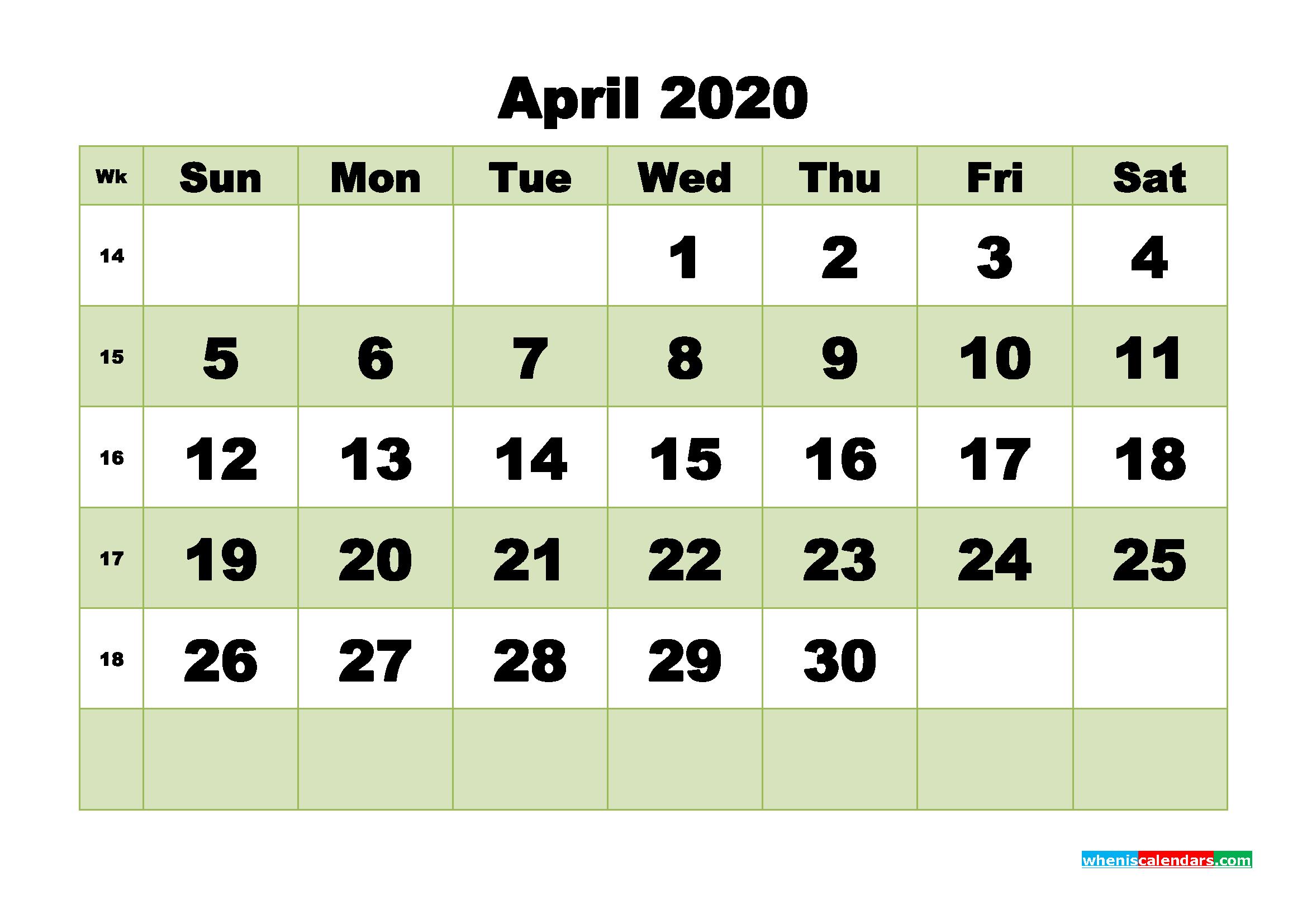 Free Blank Calendar April 2020 Printable - No.m20b472