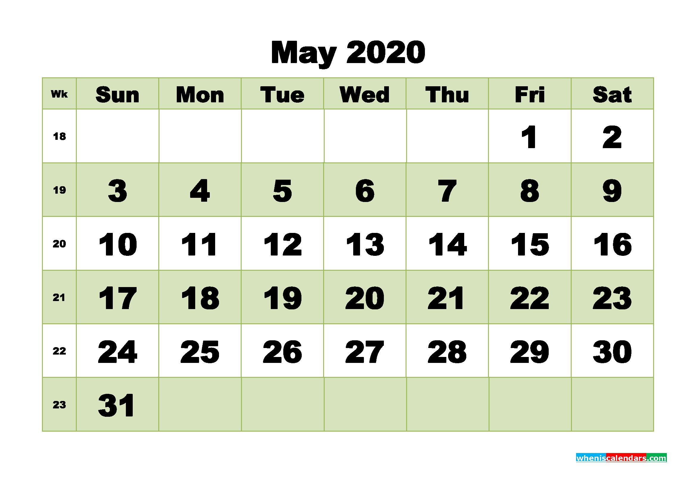 Free Blank Calendar May 2020 Printable - No.m20b473