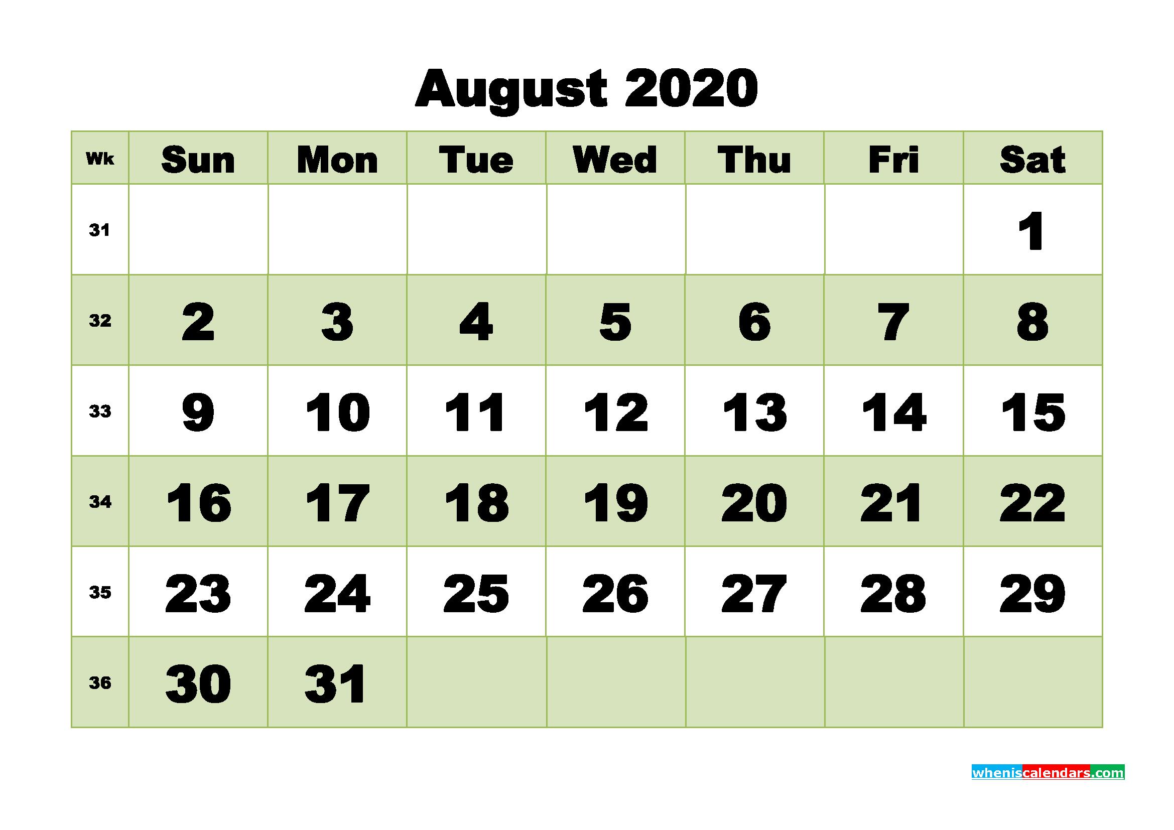 Free Blank Calendar August 2020 Printable - No.m20b476
