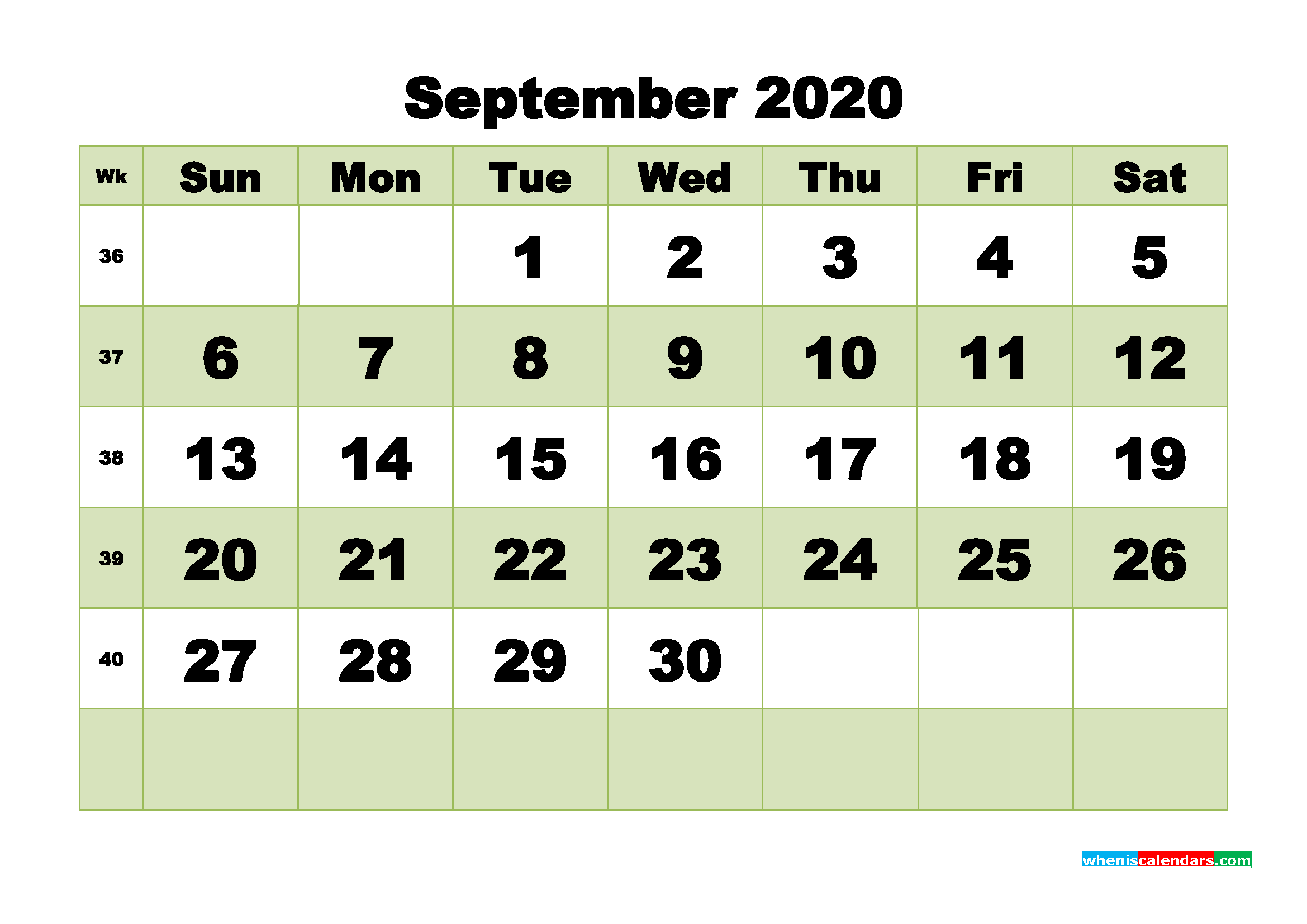 Free Blank Calendar September 2020 Printable - No.m20b477