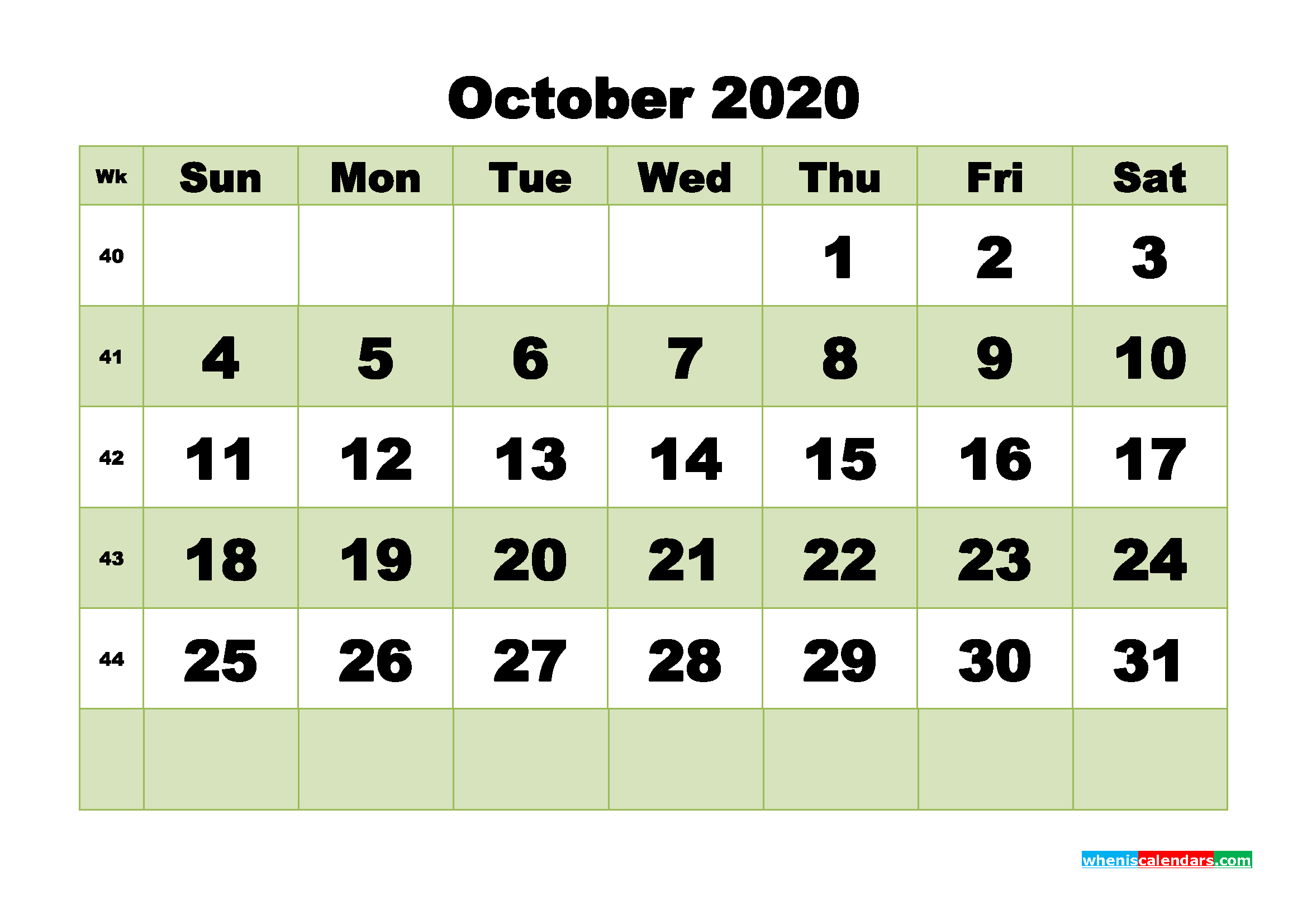 Free Blank Calendar October 2020 Printable - No.m20b478