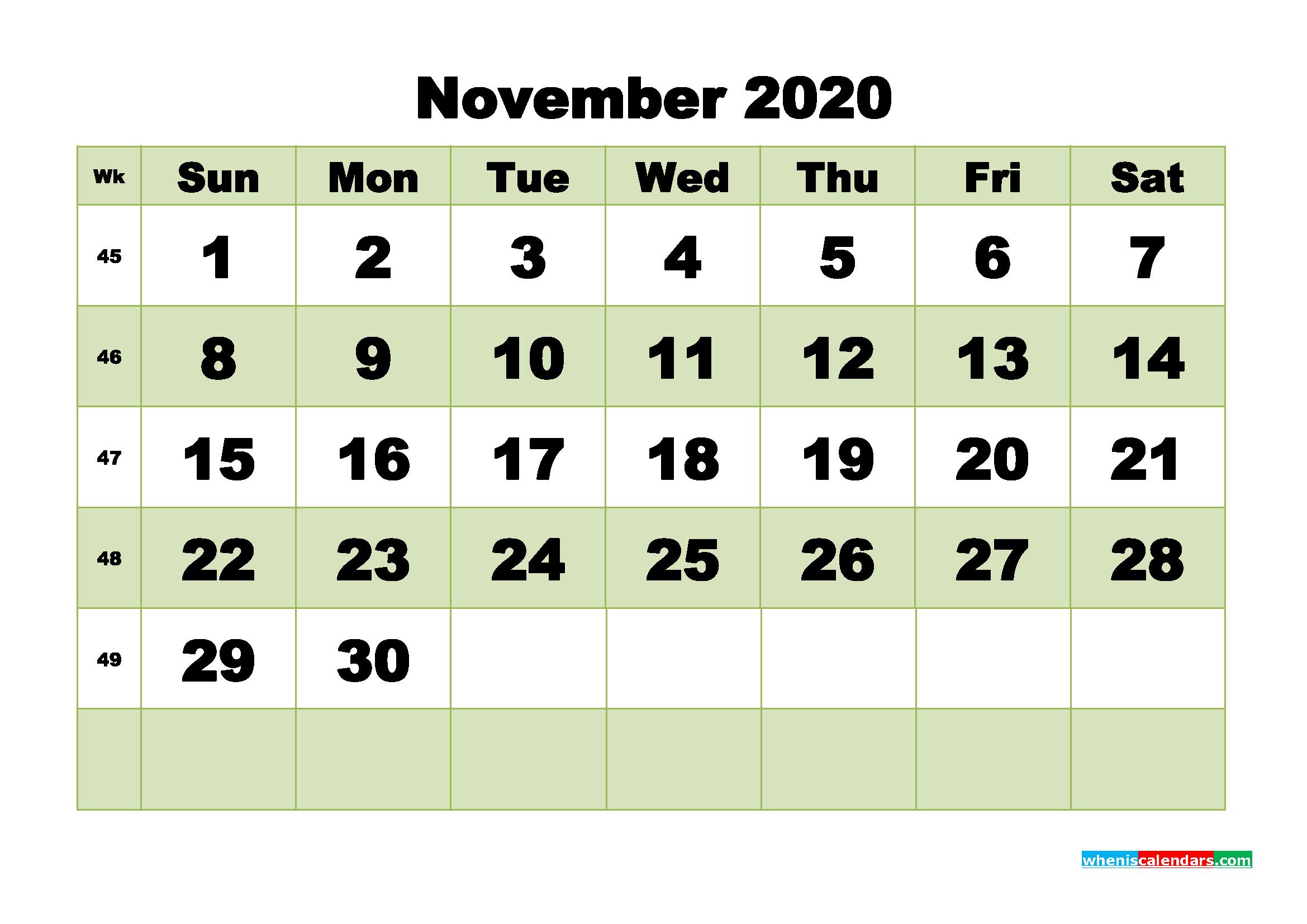 Free Blank Calendar November 2020 Printable - No.m20b479