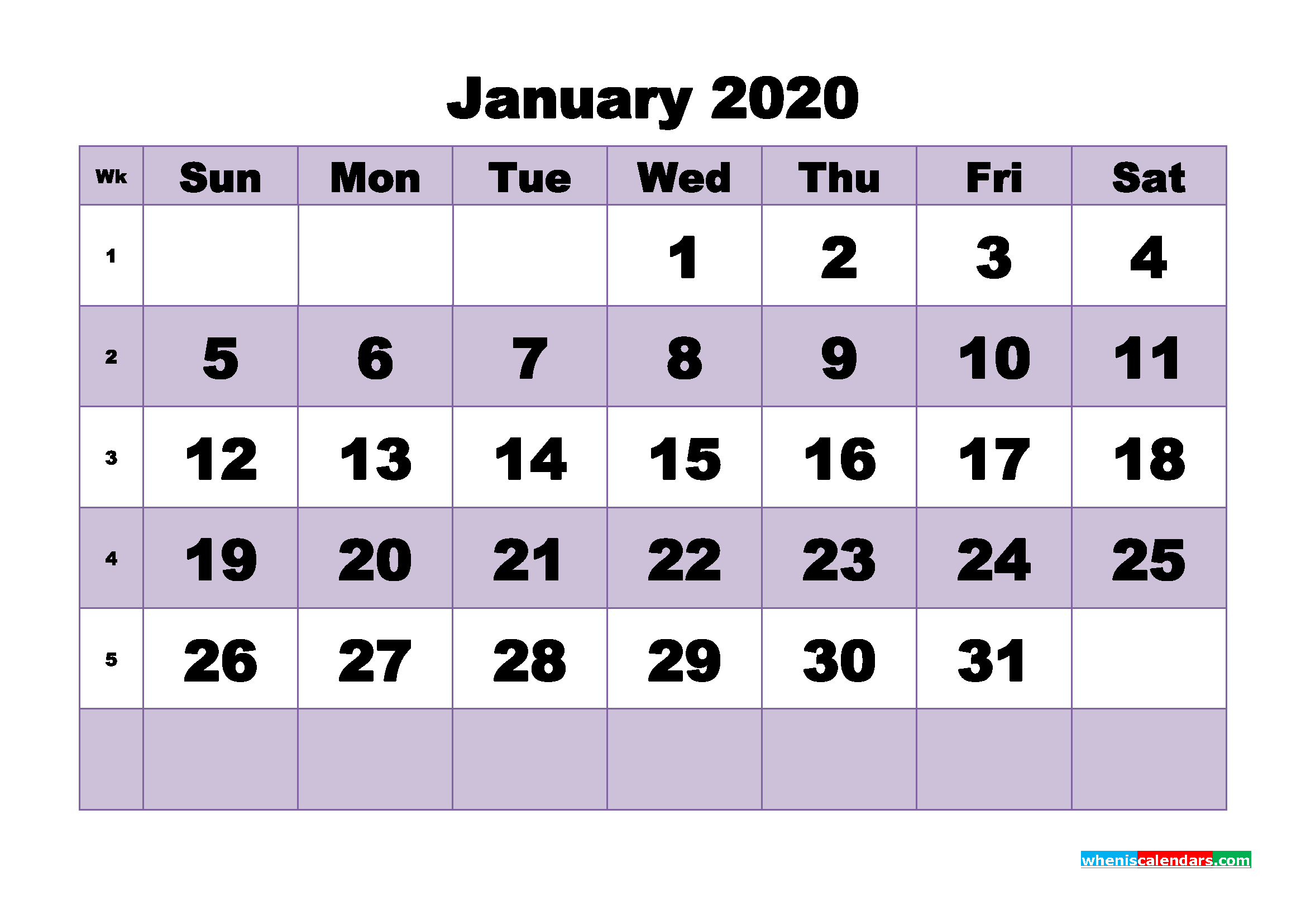Blank January 2020 Calendar Printable - No.m20b481