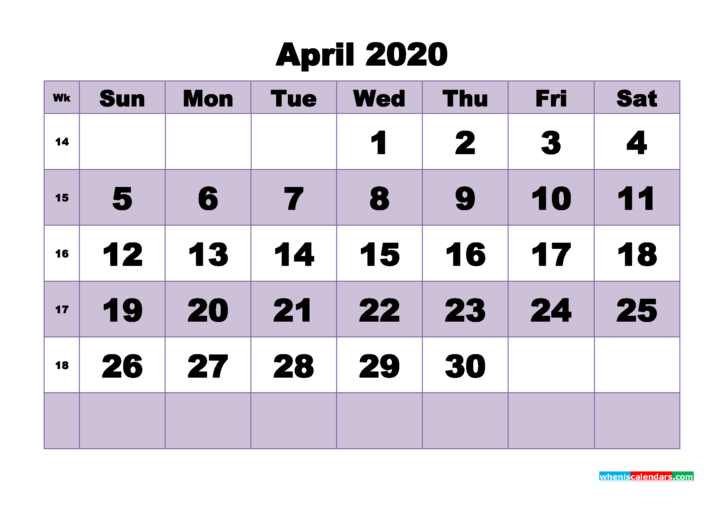 Blank April 2020 Calendar Printable - No.m20b484