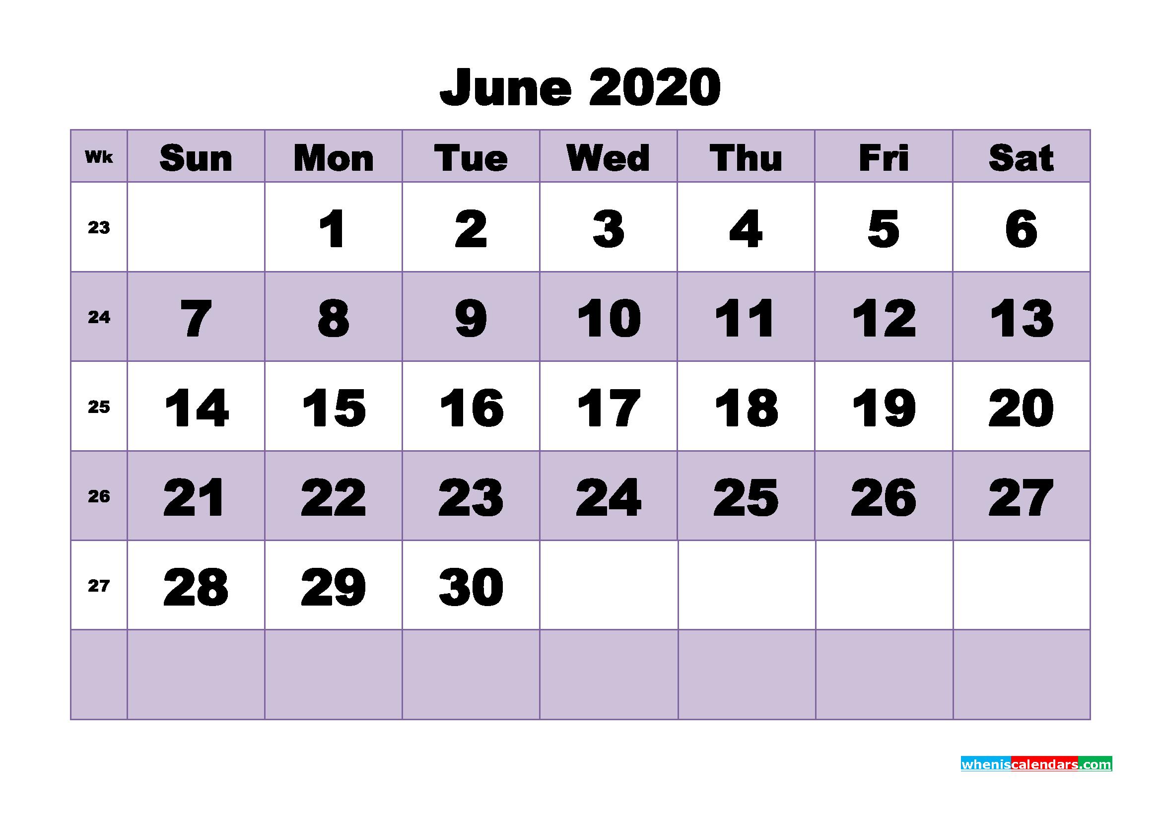 Blank June 2020 Calendar Printable - No.m20b486