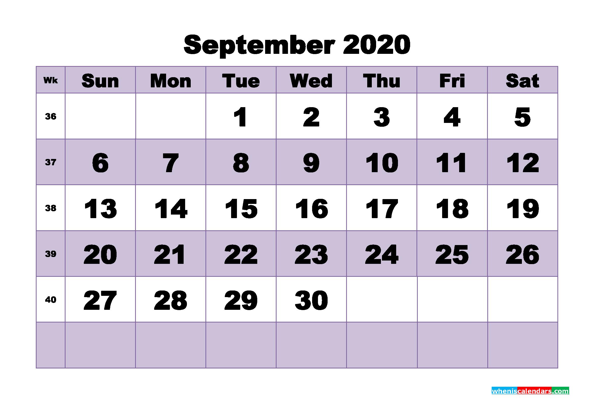 Blank September 2020 Calendar Printable - No.m20b489