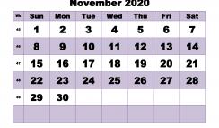 Monthly Printable Calendar 2020 November with Week Numbers