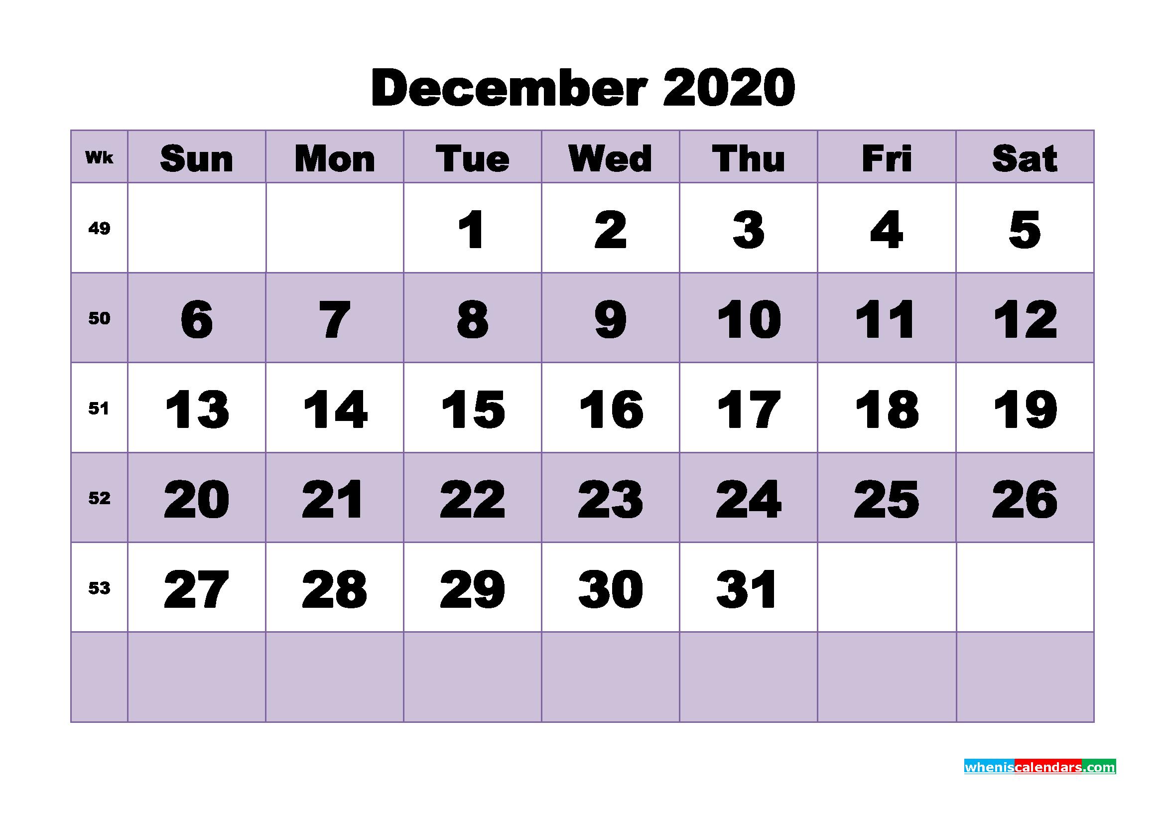 Blank December 2020 Calendar Printable - No.m20b492