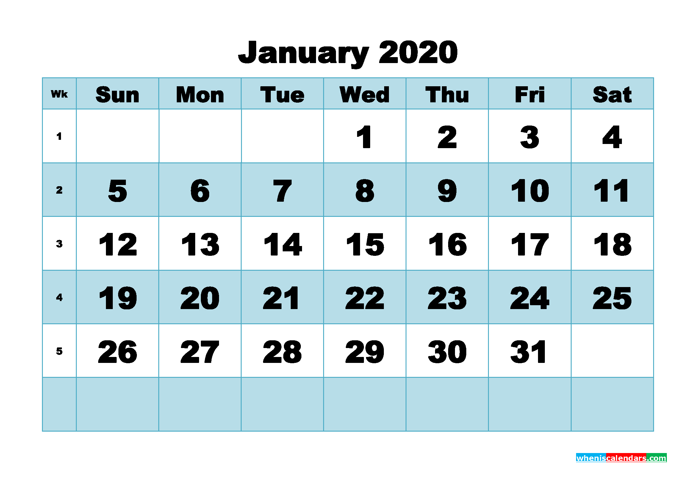January 2020 Blank Calendar Printable - No.m20b493