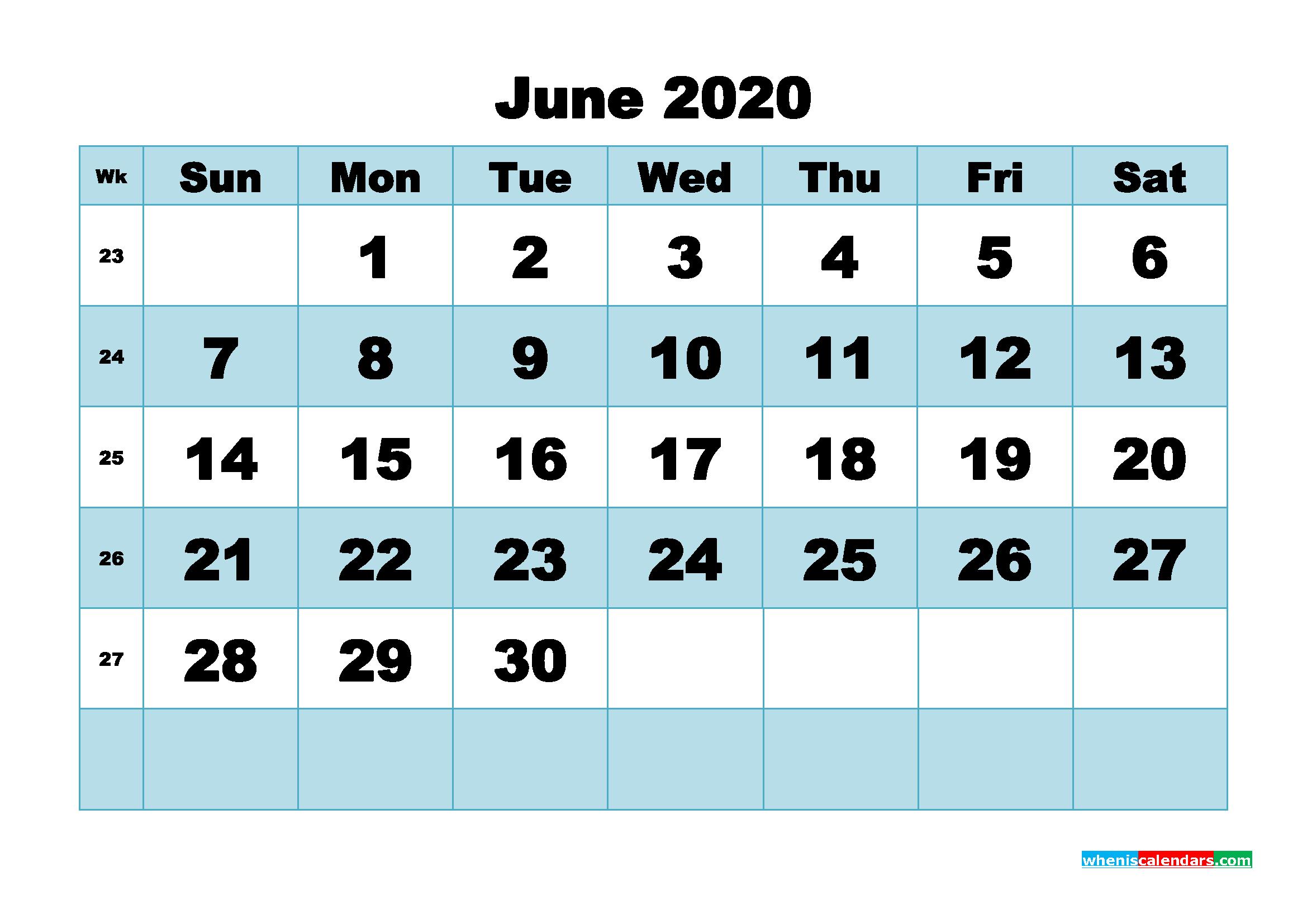 June 2020 Blank Calendar Printable - No.m20b498