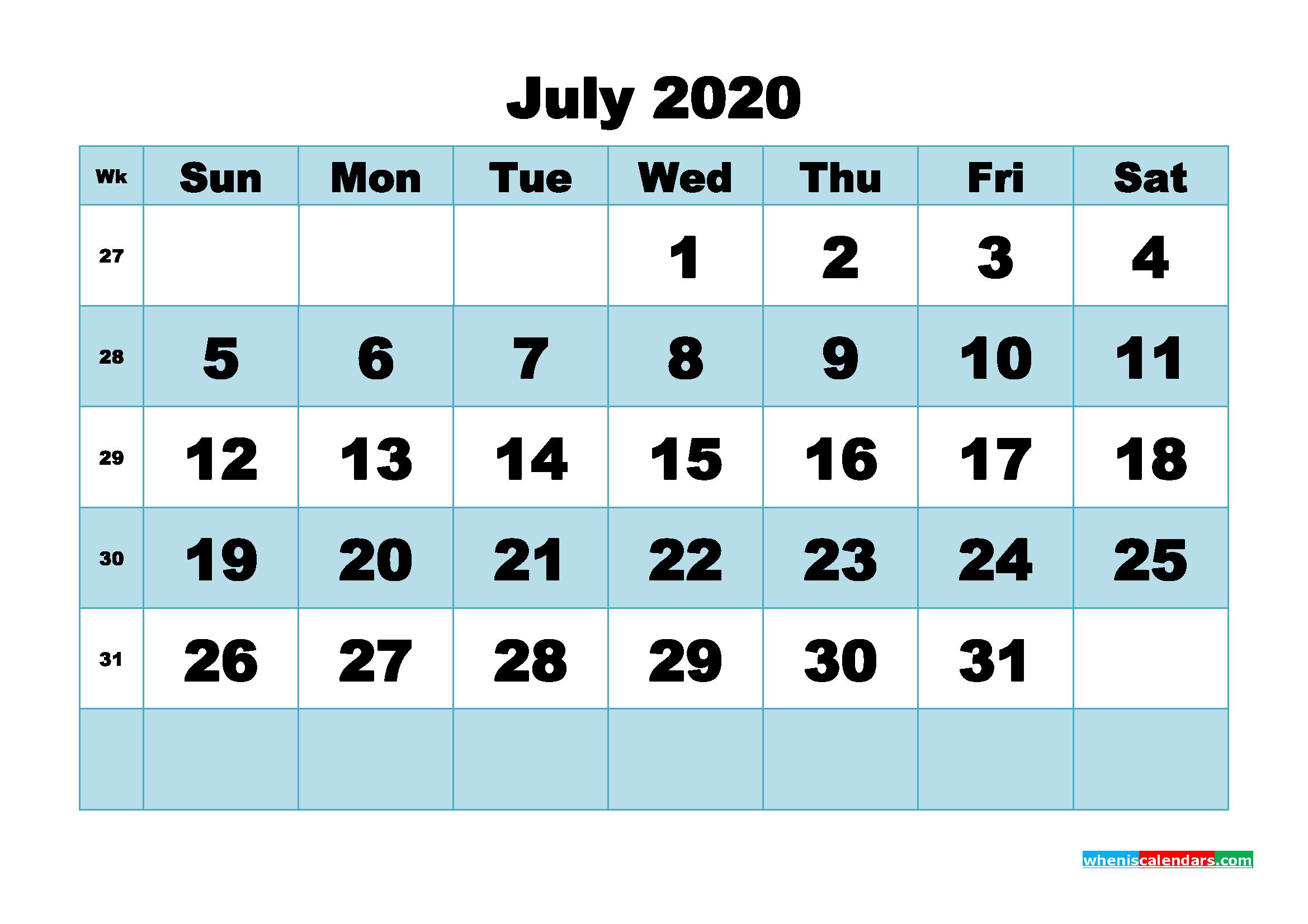 July 2020 Blank Calendar Printable - No.m20b499