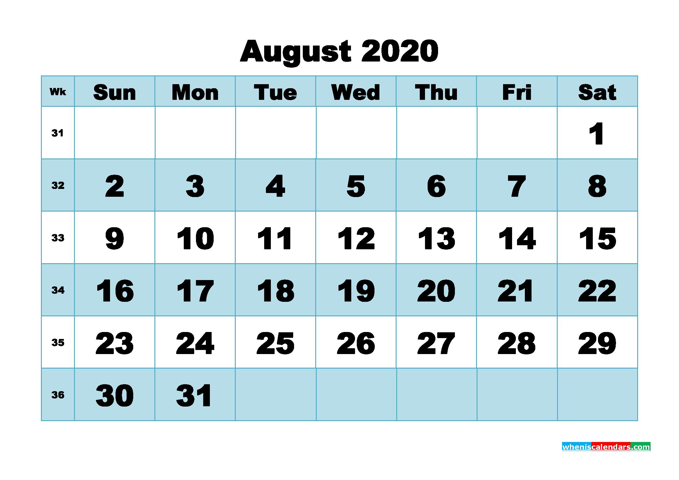 August 2020 Blank Calendar Printable - No.m20b500