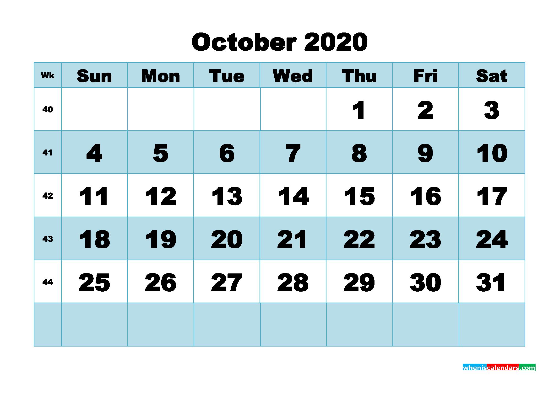 October 2020 Blank Calendar Printable - No.m20b502