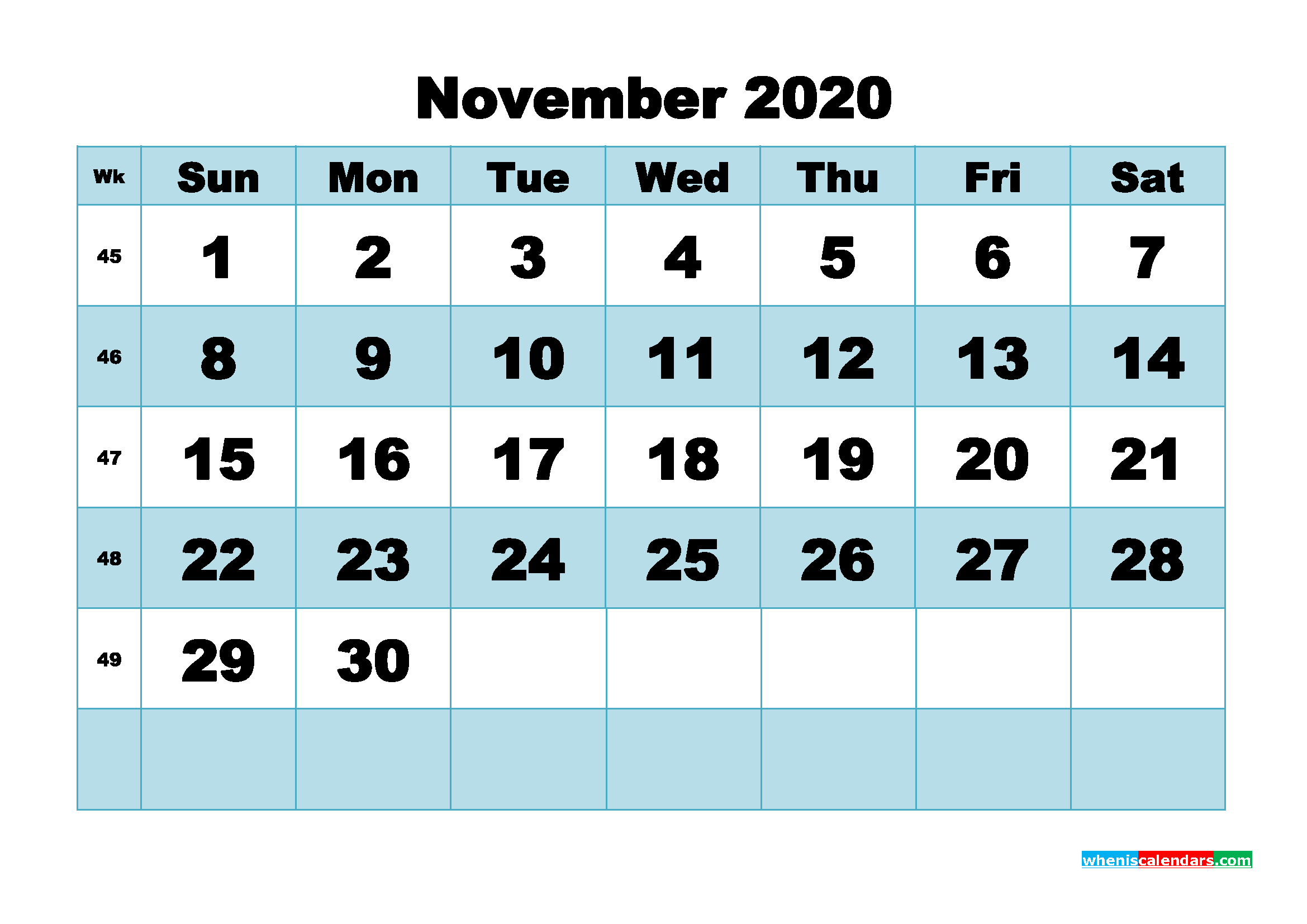Printable 2020 Monthly Calendar with Week Numbers November