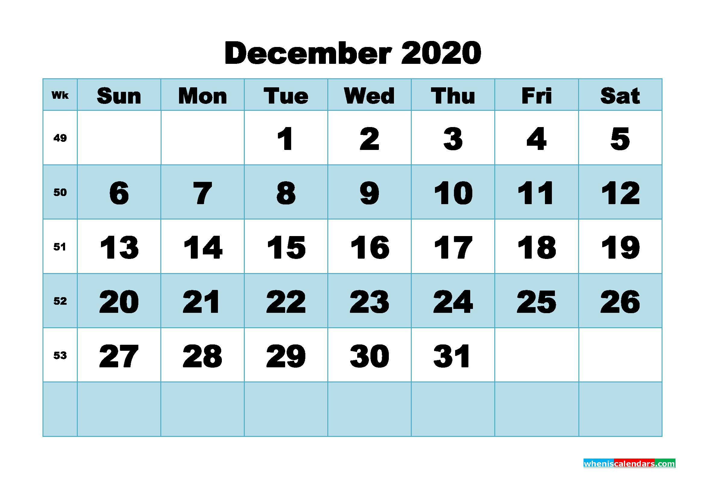 December 2020 Blank Calendar Printable - No.m20b504