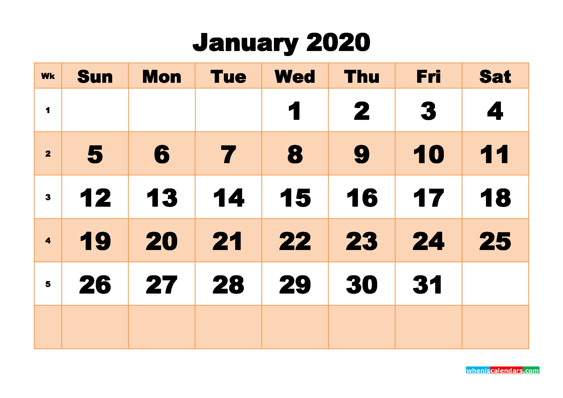 Free Printable Calendar January 2020 PDF, Word - No.m20b505