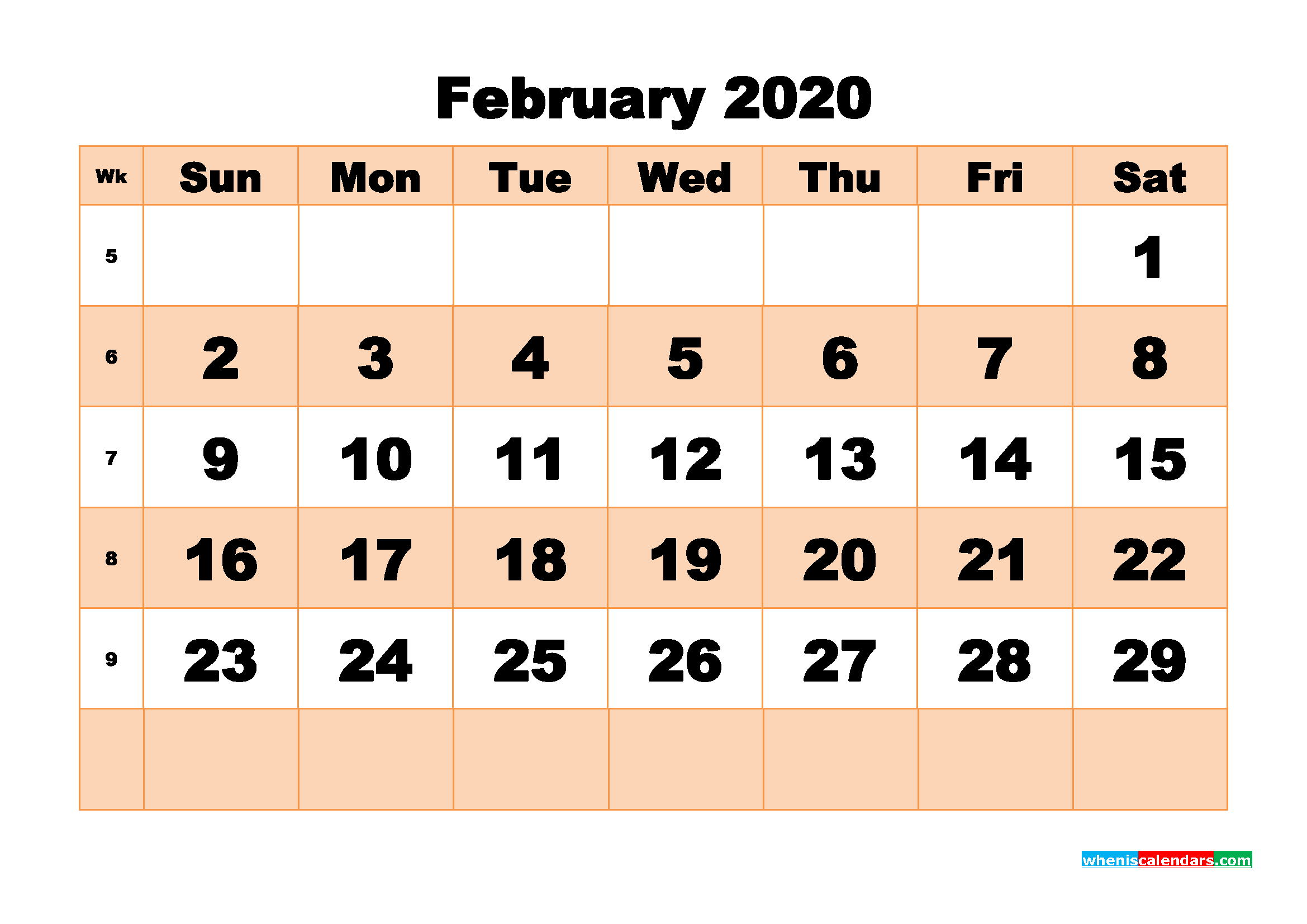 Free Printable Calendar February 2020 PDF, Word - No.m20b506