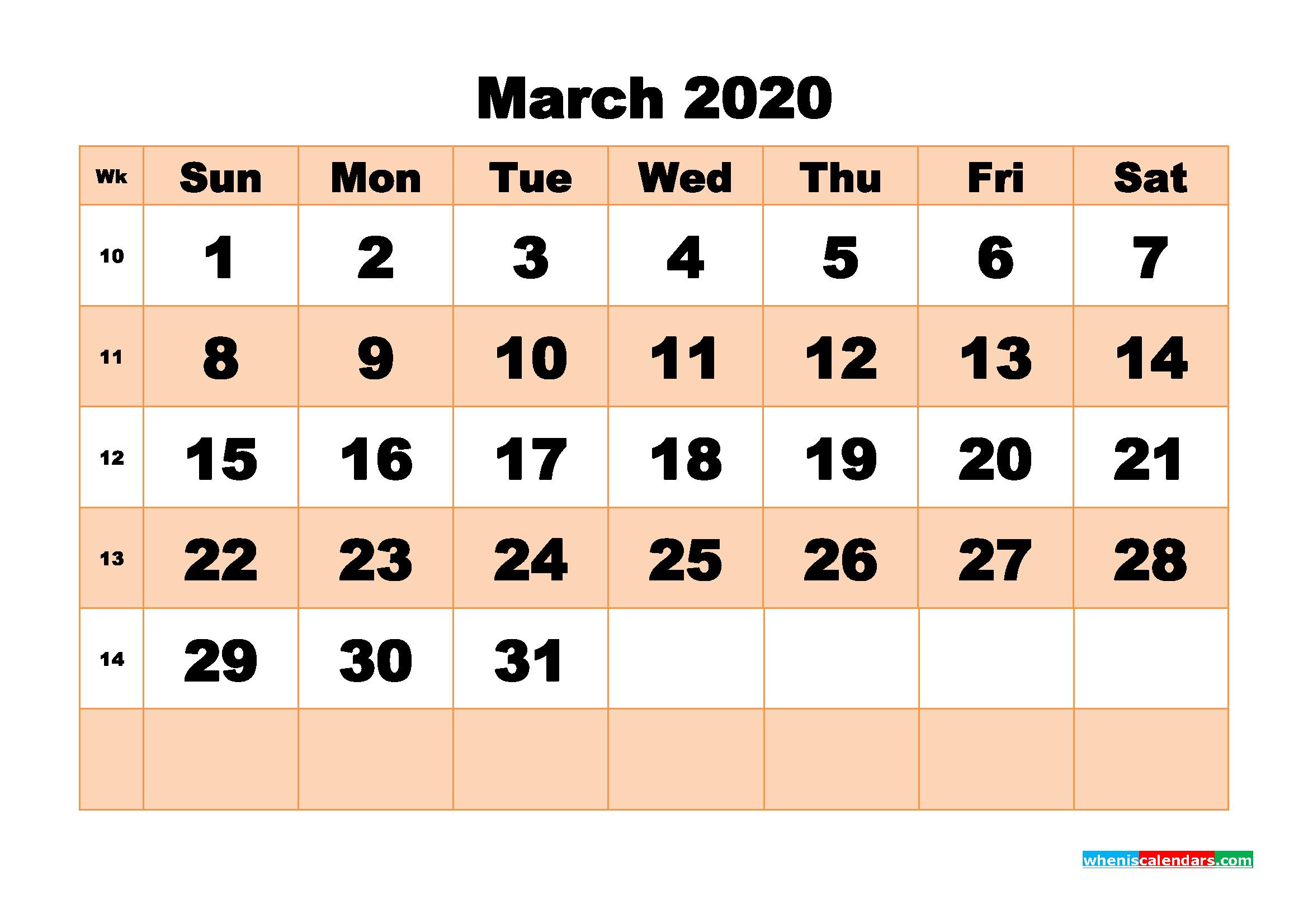 Free Printable Calendar March 2020 PDF, Word - No.m20b507
