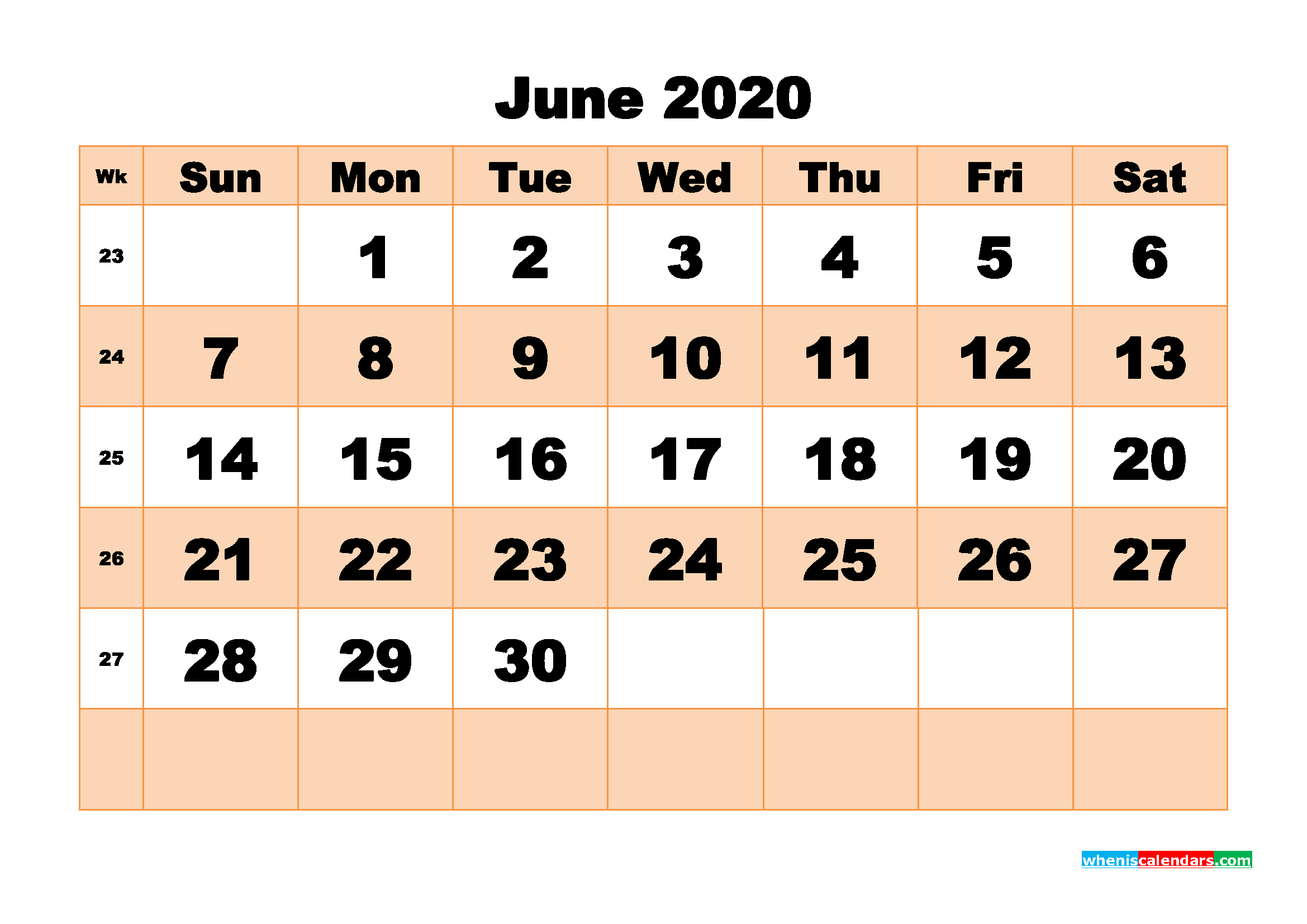 Free Printable Calendar June 2020 PDF, Word - No.m20b510