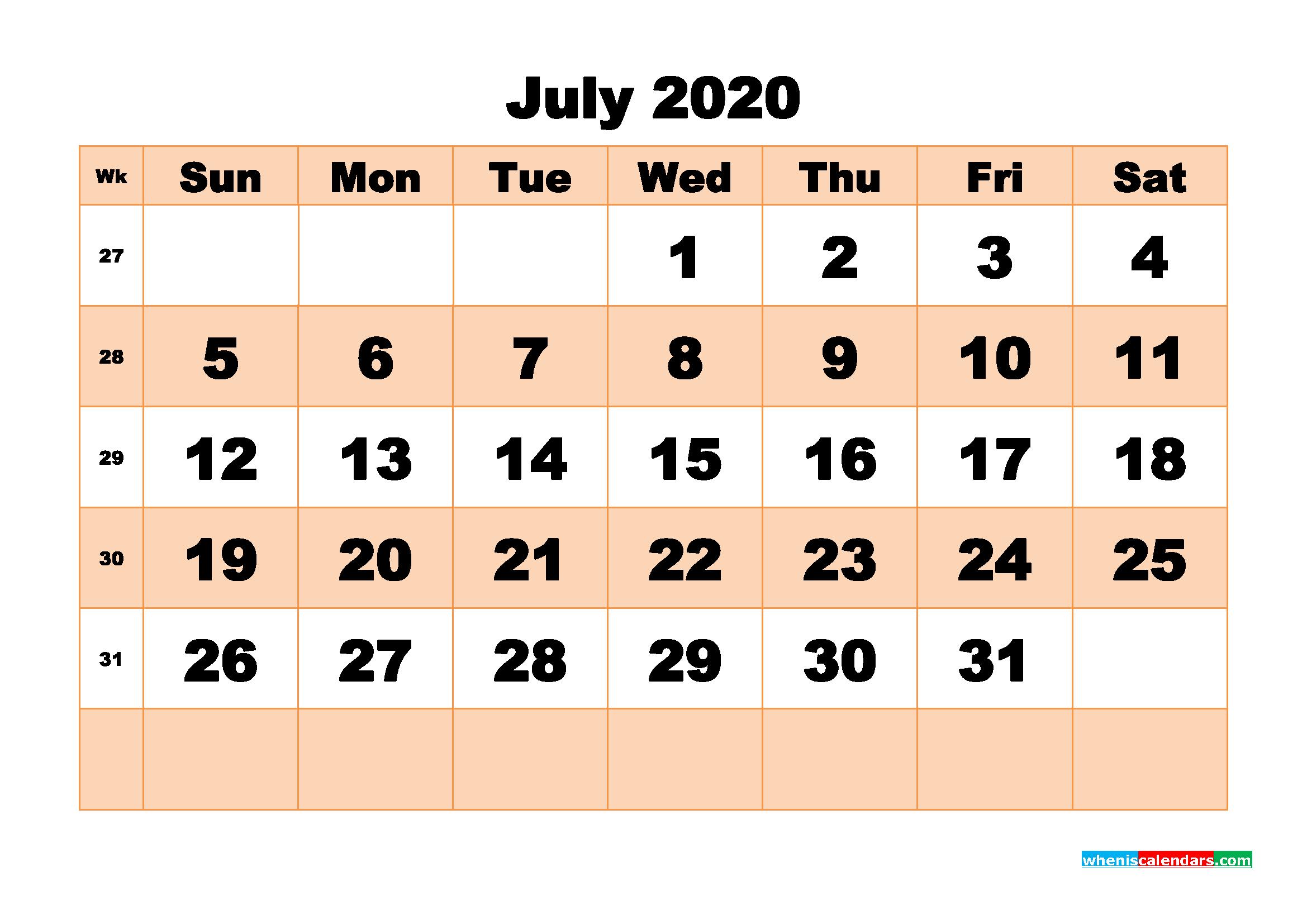 Free Printable Calendar July 2020 PDF, Word - No.m20b511