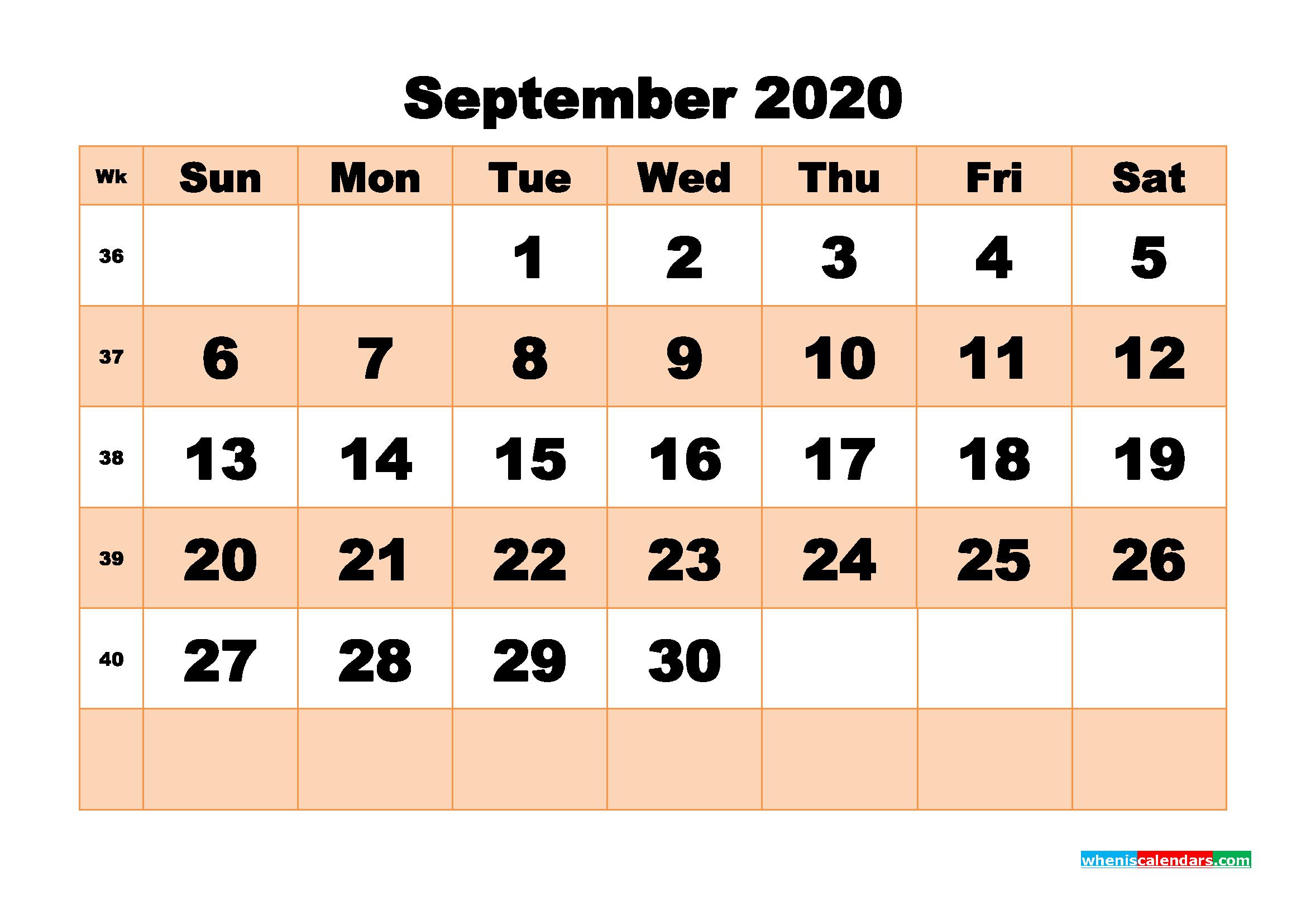 Free Printable Calendar September 2020 PDF, Word - No.m20b513