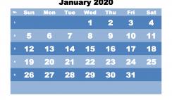 January Printable Calendar 2020 PDF