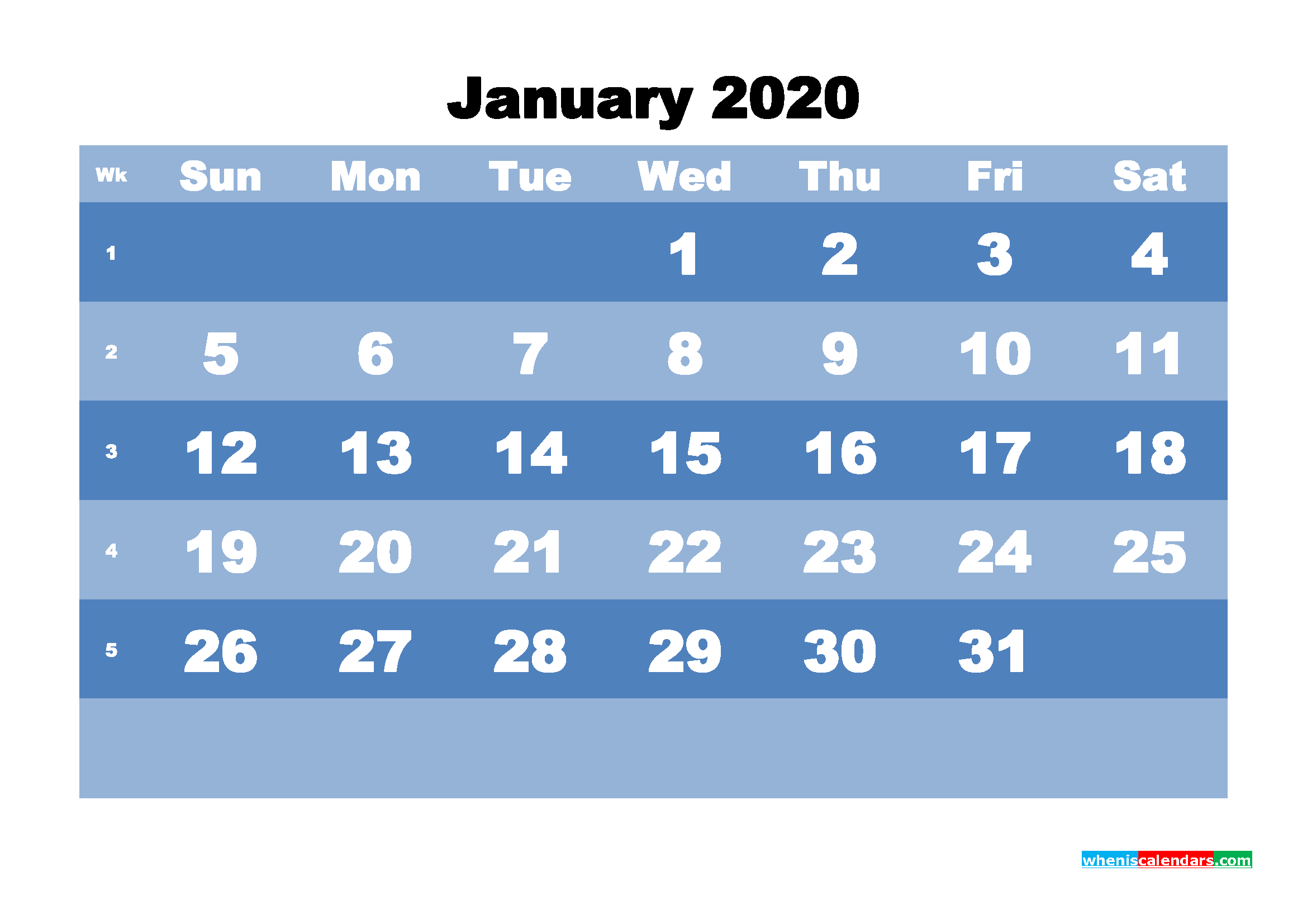 January Printable Calendar 2020 PDF, Word - No.m20b517