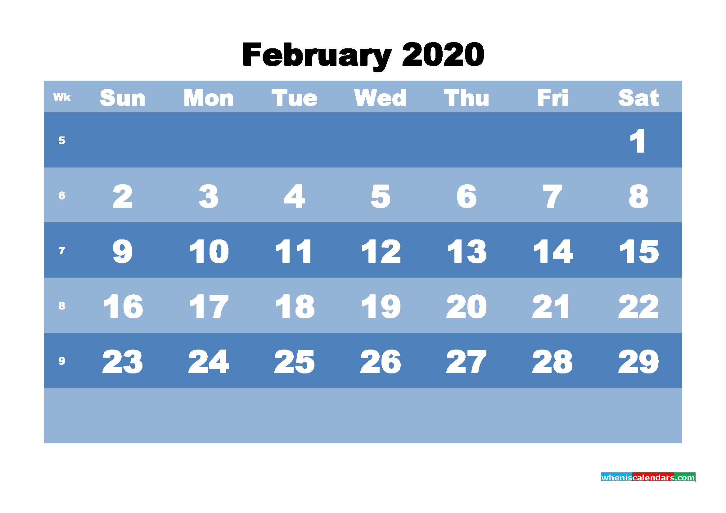 February Printable Calendar 2020 PDF, Word - No.m20b518